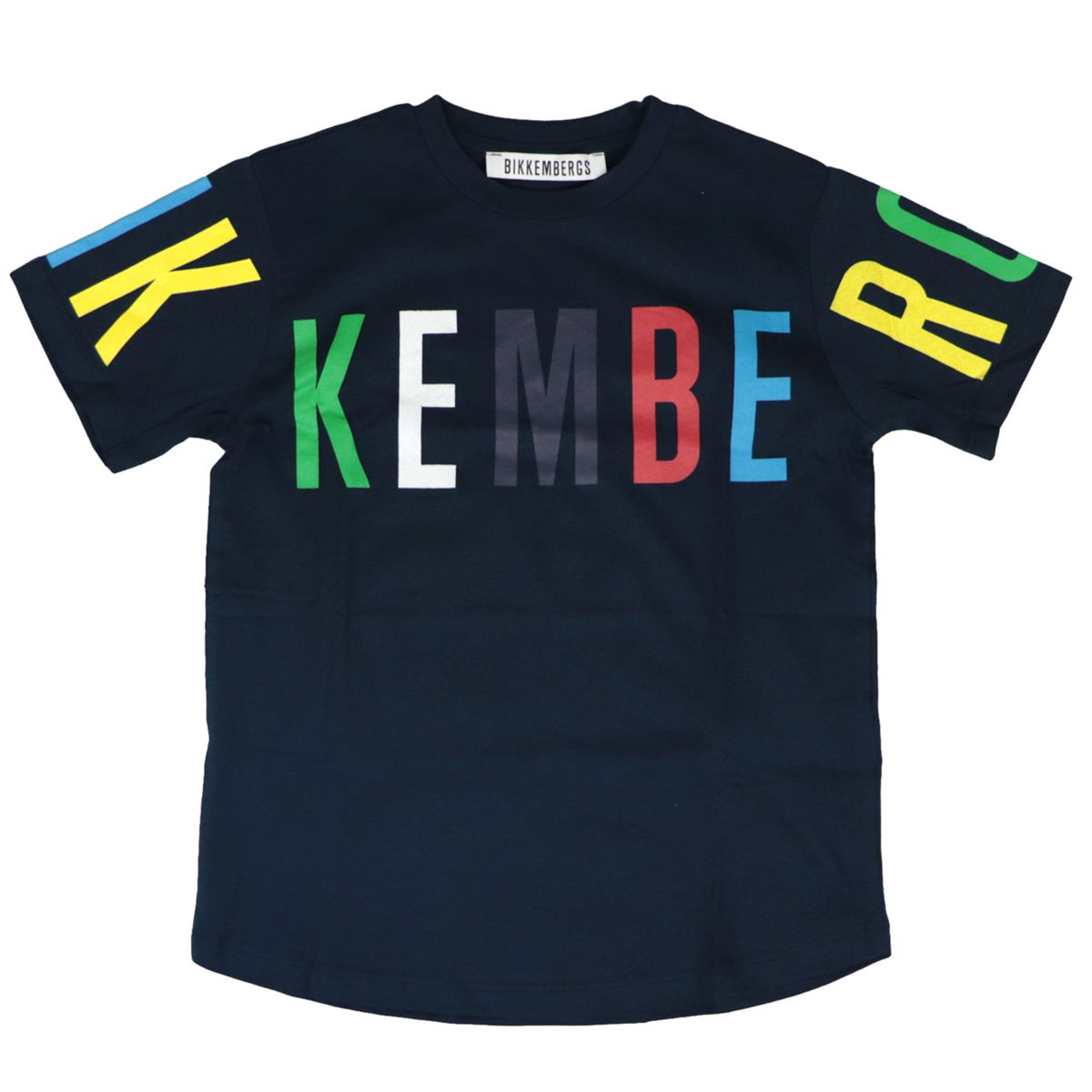 Cotton T-shirt with front multicolor logo Blue Bikkembergs