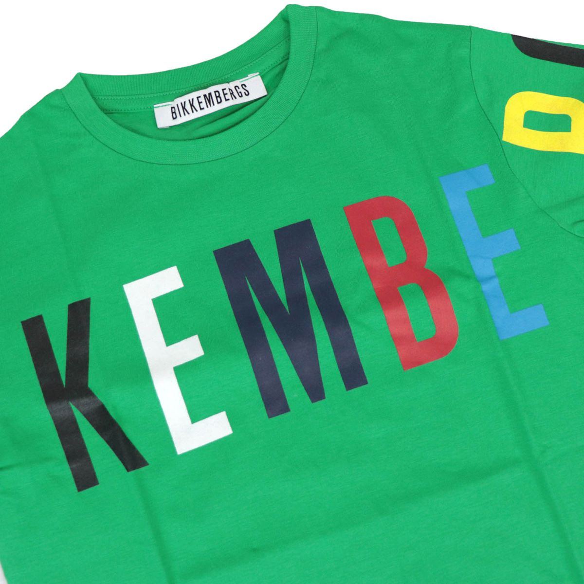Cotton T-shirt with front multicolor logo Green Bikkembergs
