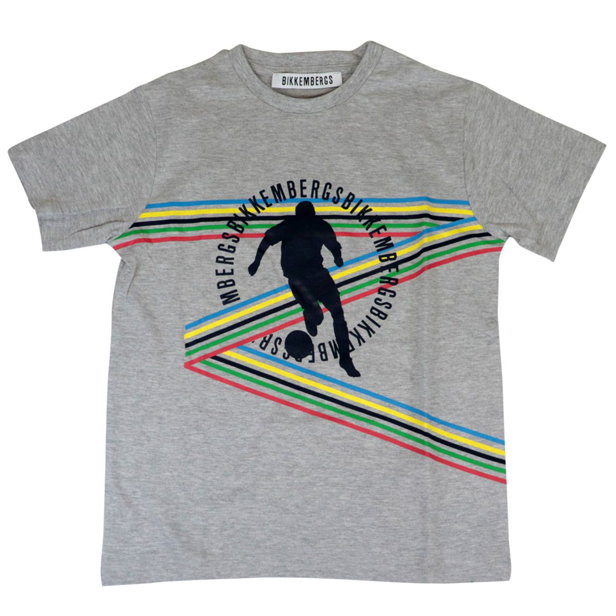 Short-sleeved cotton T-shirt with multicolor print Grey Bikkembergs