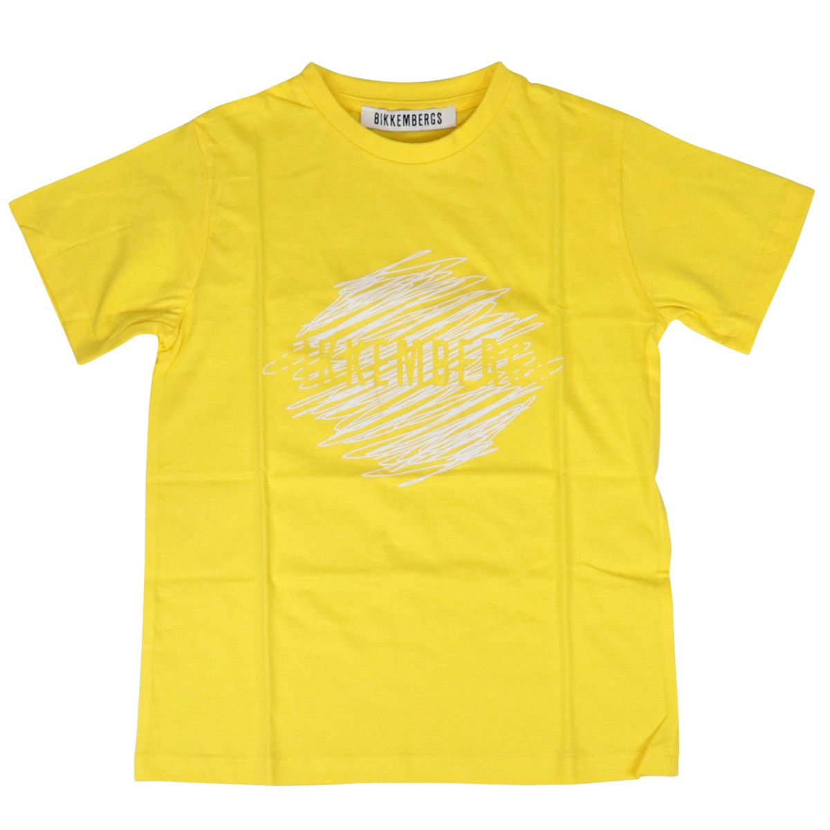Short-sleeved cotton crew-neck t-shirt with print Yellow Bikkembergs