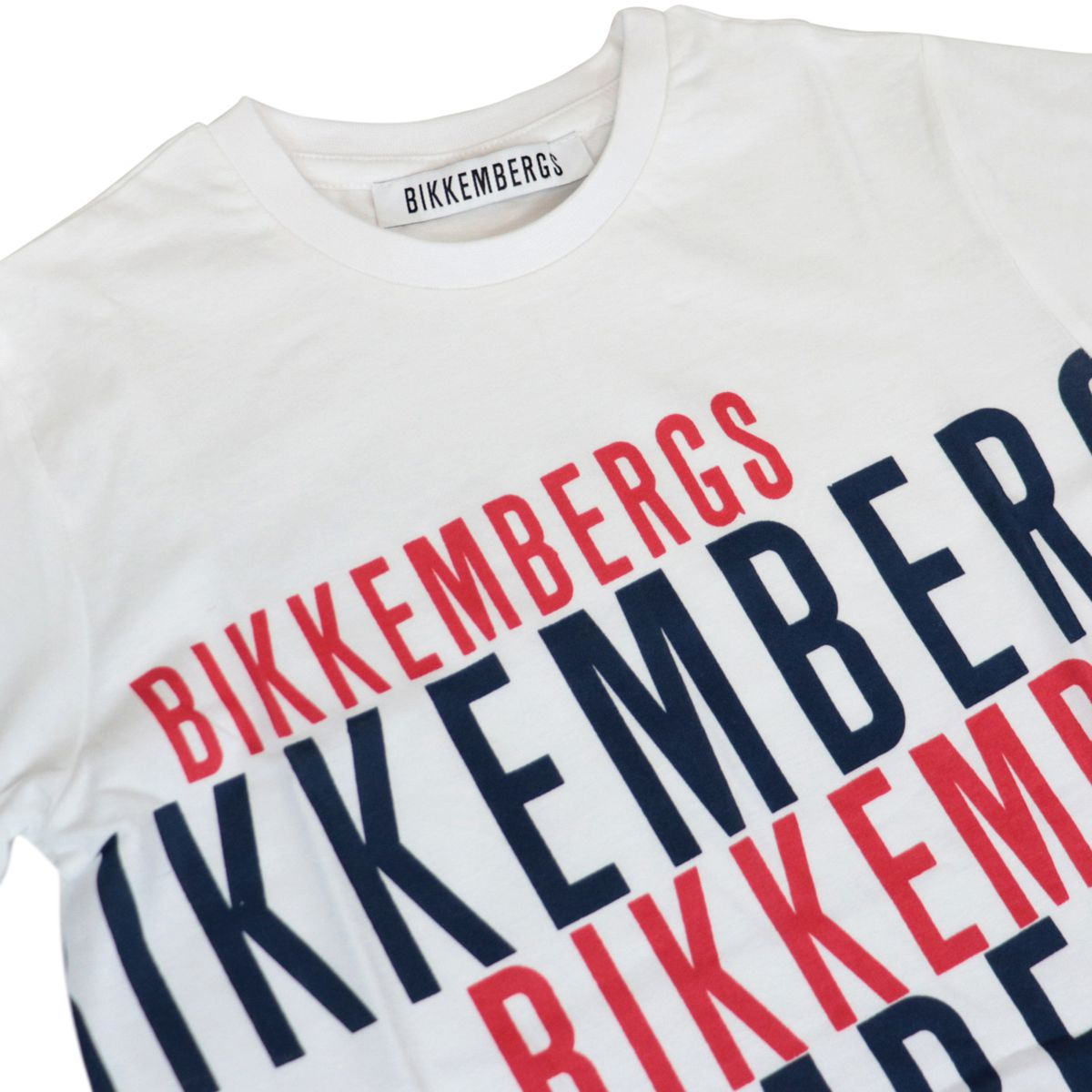 Cotton T-shirt with contrasting logo prints White Bikkembergs