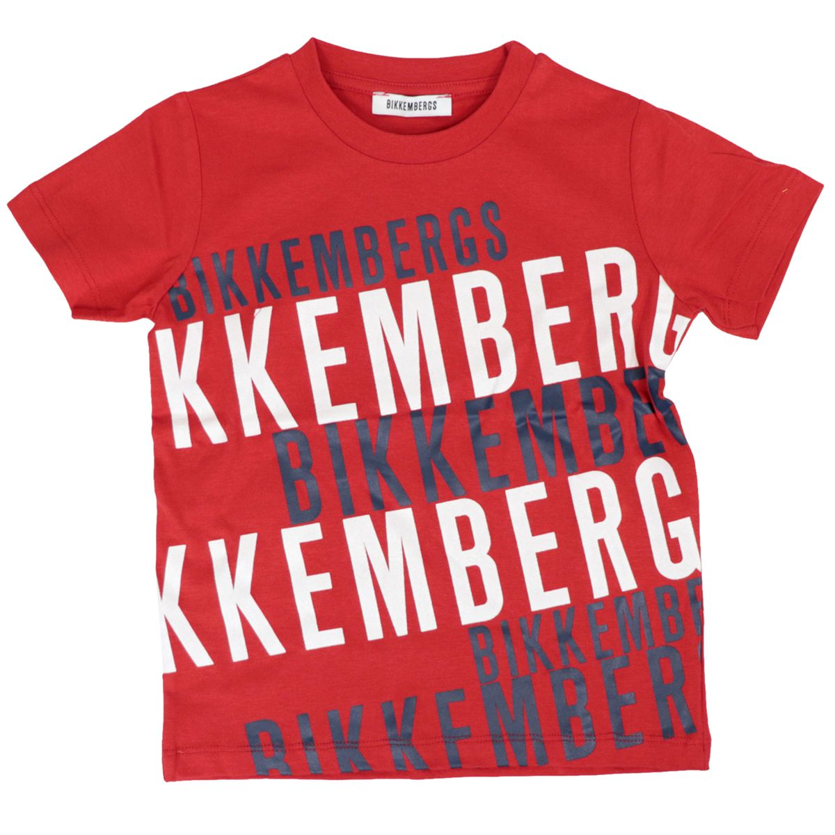 Cotton T-shirt with contrasting logo prints Red Bikkembergs