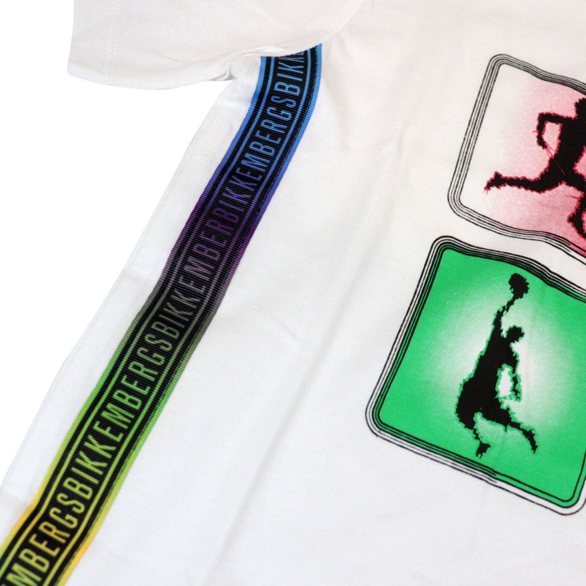 Crew neck cotton T-shirt with multicolor prints White Bikkembergs