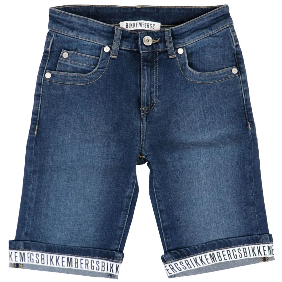 Denim shorts with logo turn-up Medium denim Bikkembergs