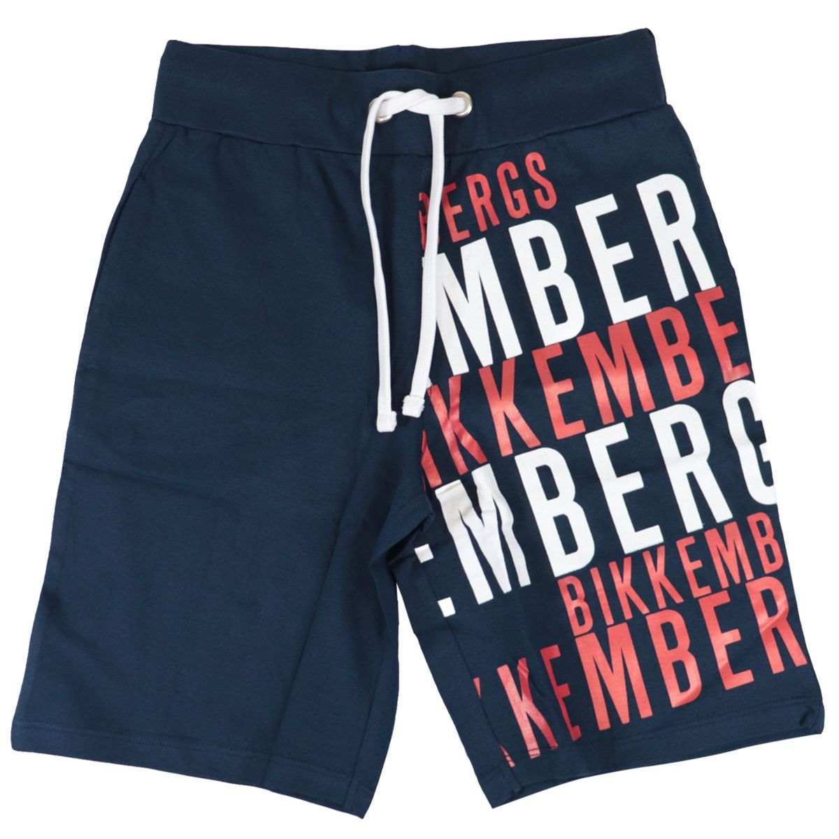 Cotton bermuda with logo print and drawstring Blue Bikkembergs