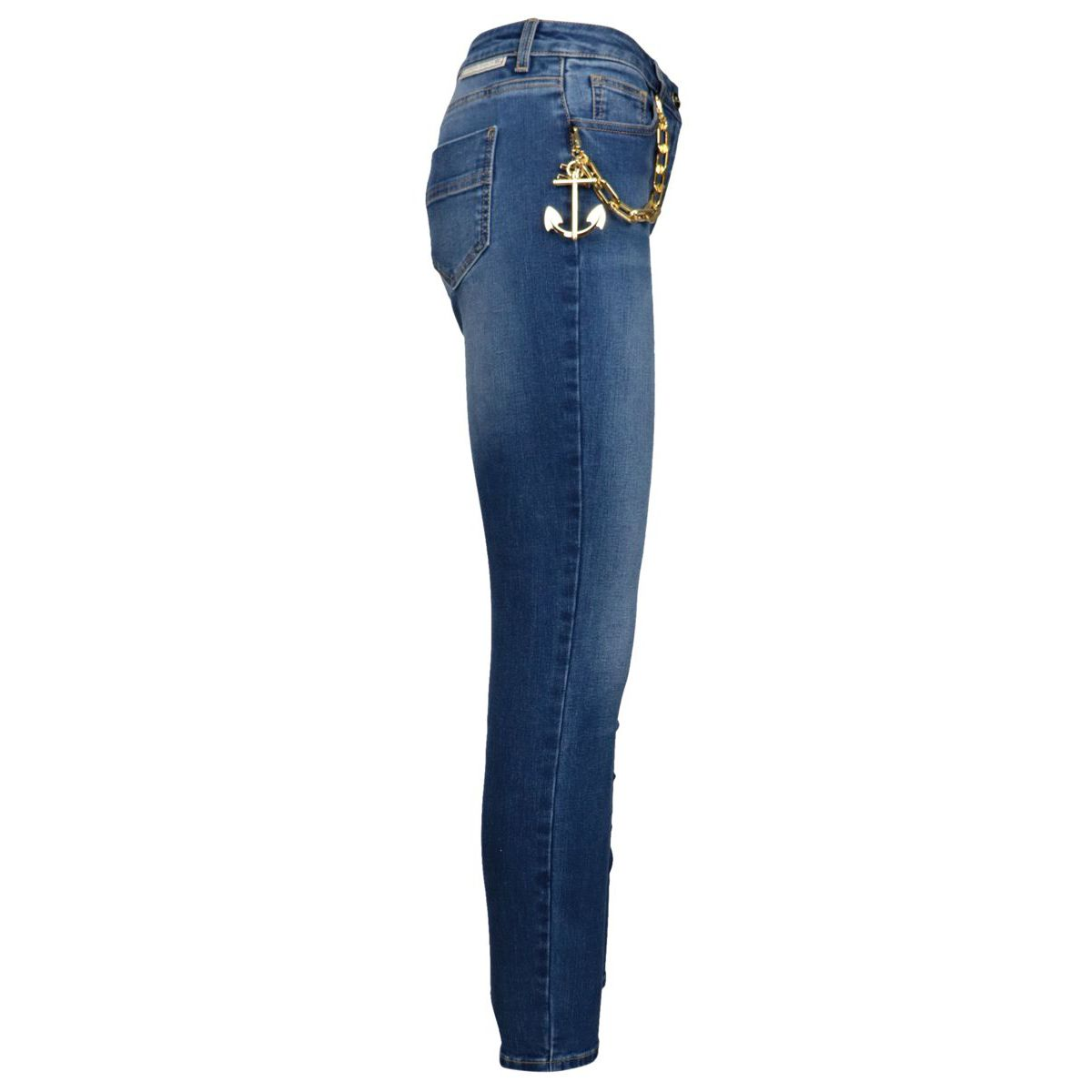 Jeans 5 tasche a vita alta con catena e charm Blu/denim Elisabetta Franchi