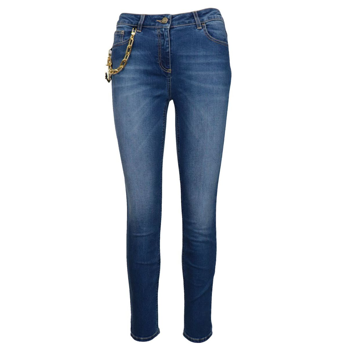 High-waisted 5-pocket jeans with chain and charm Blue / denim Elisabetta Franchi