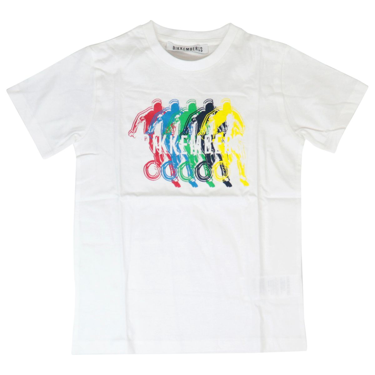 Cotton t-shirt and shorts set with multicolor logo print White Bikkembergs