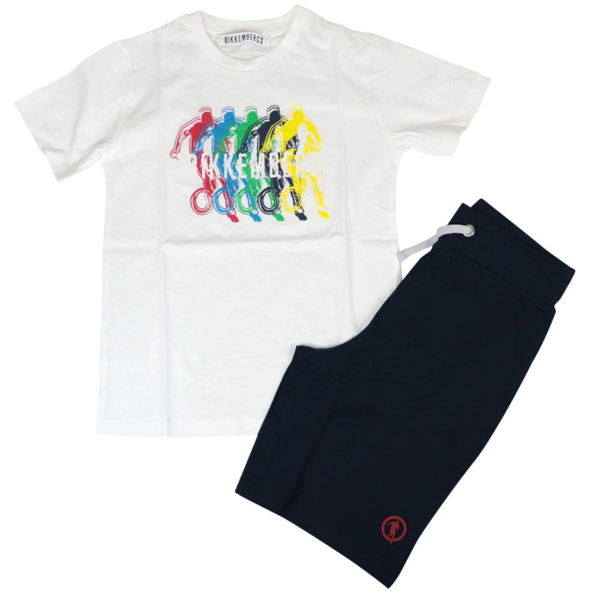 Cotton t-shirt and shorts set with multicolor logo print Blue Bikkembergs