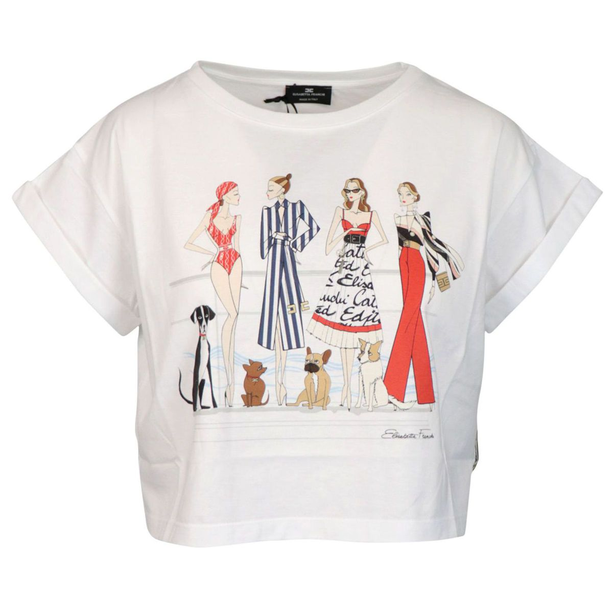 Short cotton T-shirt with models and dogs print White Elisabetta Franchi