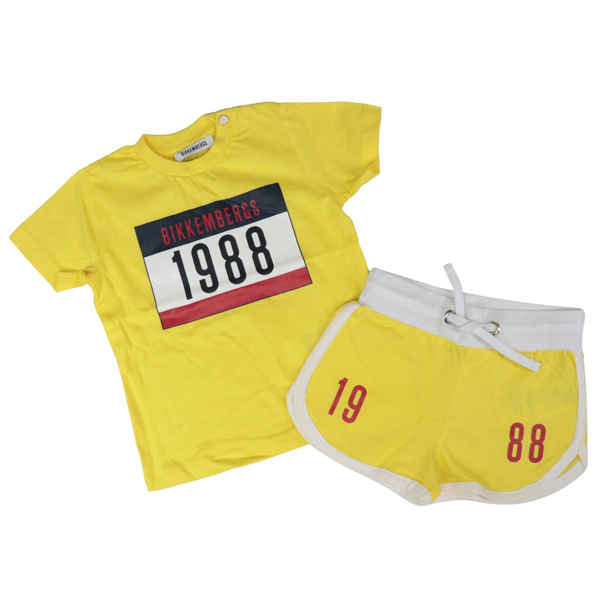 Cotton T-shirt and shorts with logo and drawstring print Yellow Bikkembergs