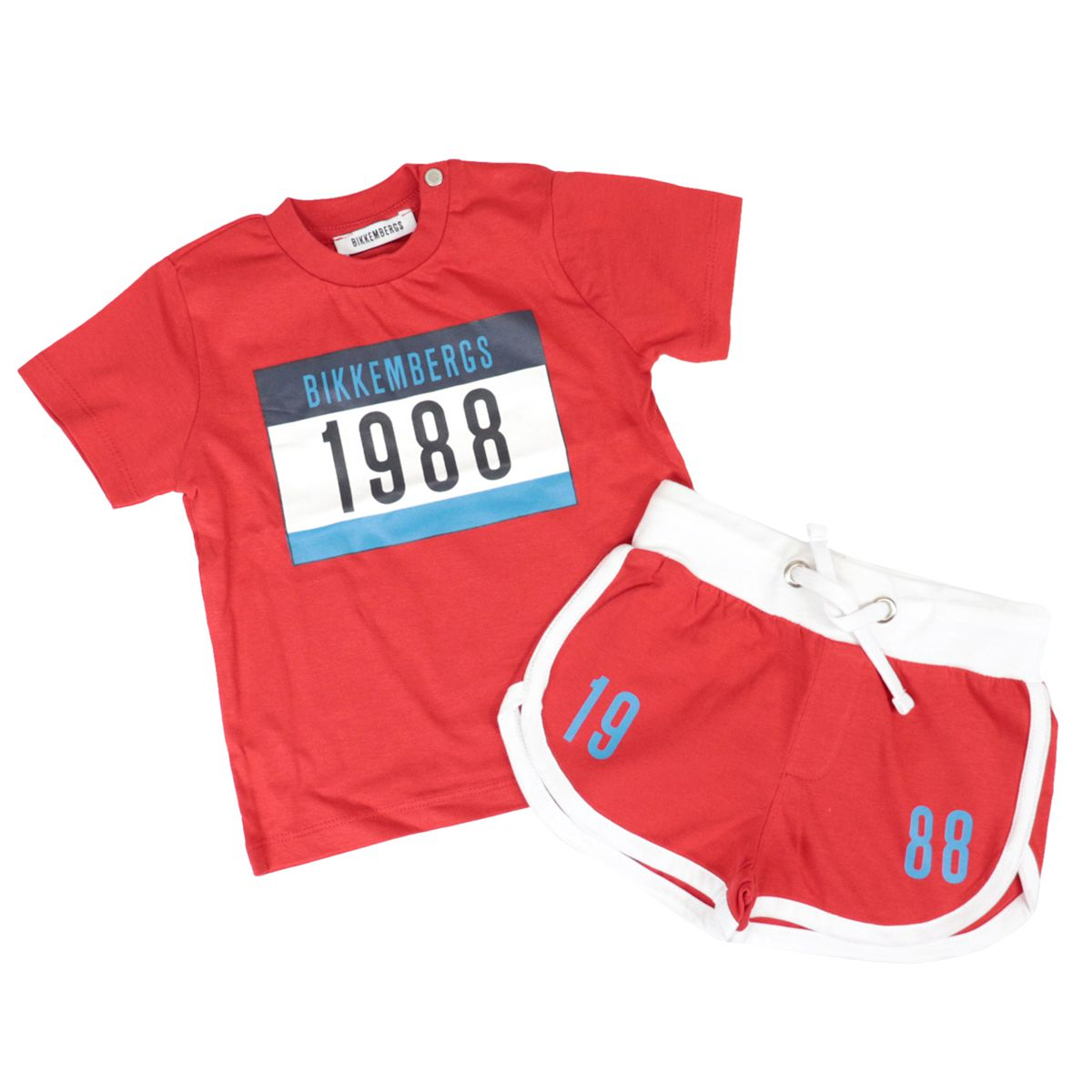Cotton T-shirt and shorts with logo and drawstring print Red Bikkembergs