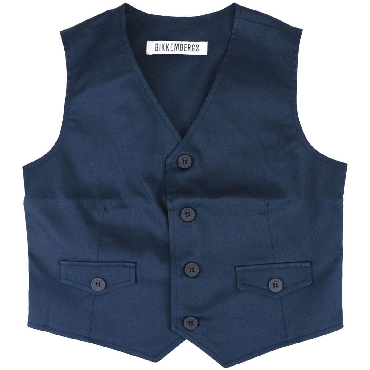 Cotton vest with V-neck and buttons Blue Bikkembergs