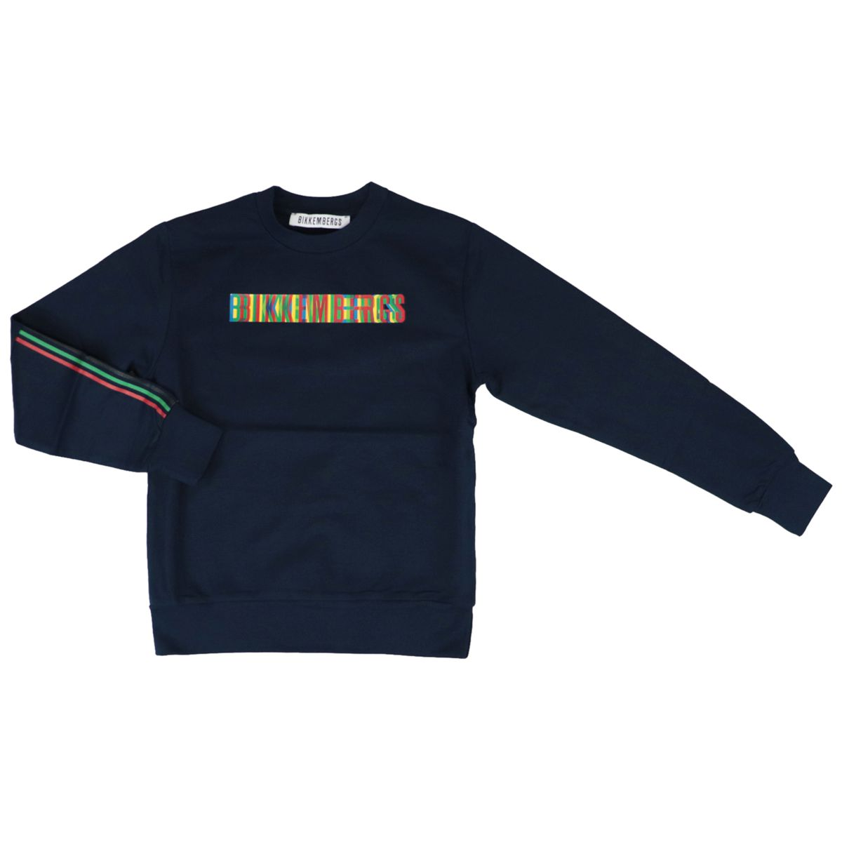 Crewneck cotton sweatshirt with multicolor logo Blue Bikkembergs