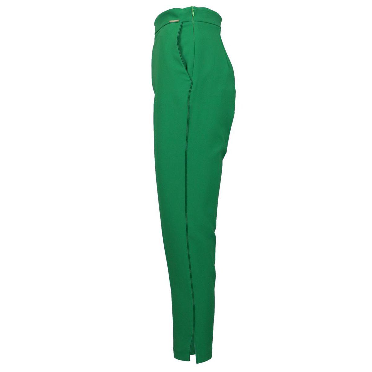 Pantalone a sigaretta in tessuto bielastico Menta Elisabetta Franchi