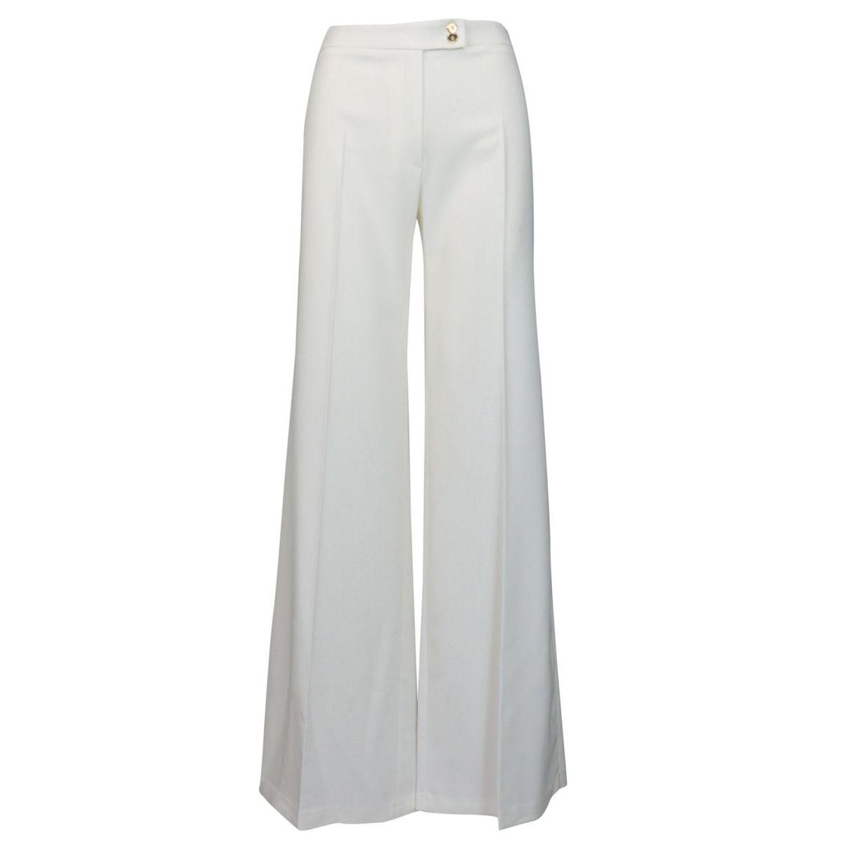 Pantalone ampio in tessuto bielastico Avorio Elisabetta Franchi