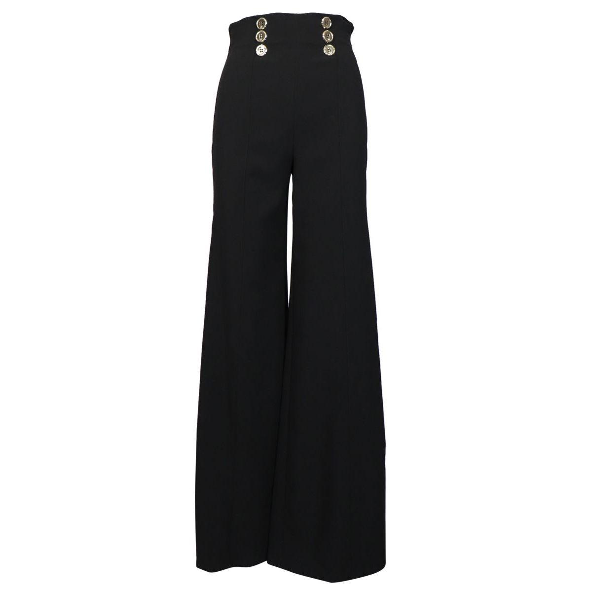 Pantalone in crepe a vita alta con bottoni Nero Elisabetta Franchi
