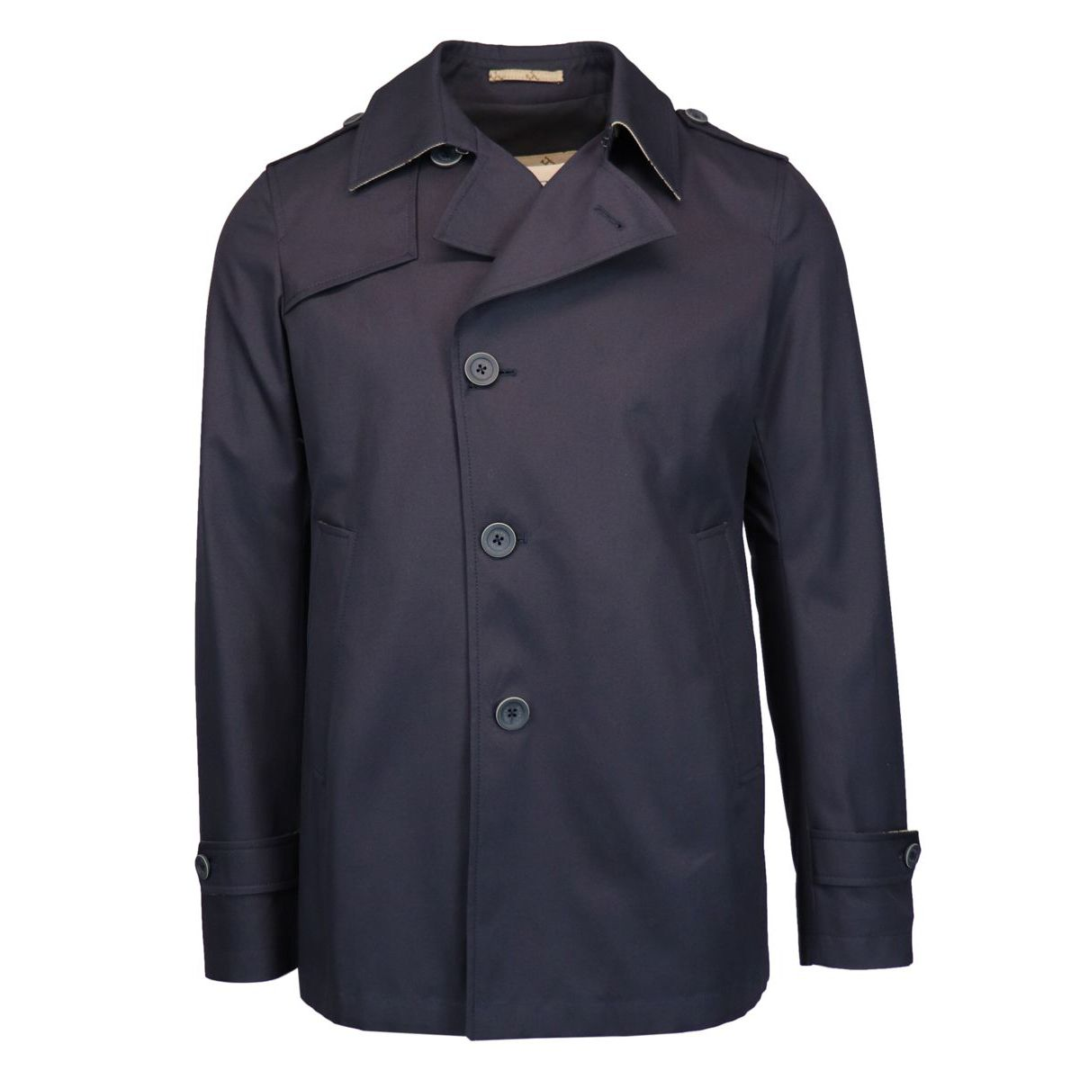 Caban single-breasted cotton trench coat Blue Herno