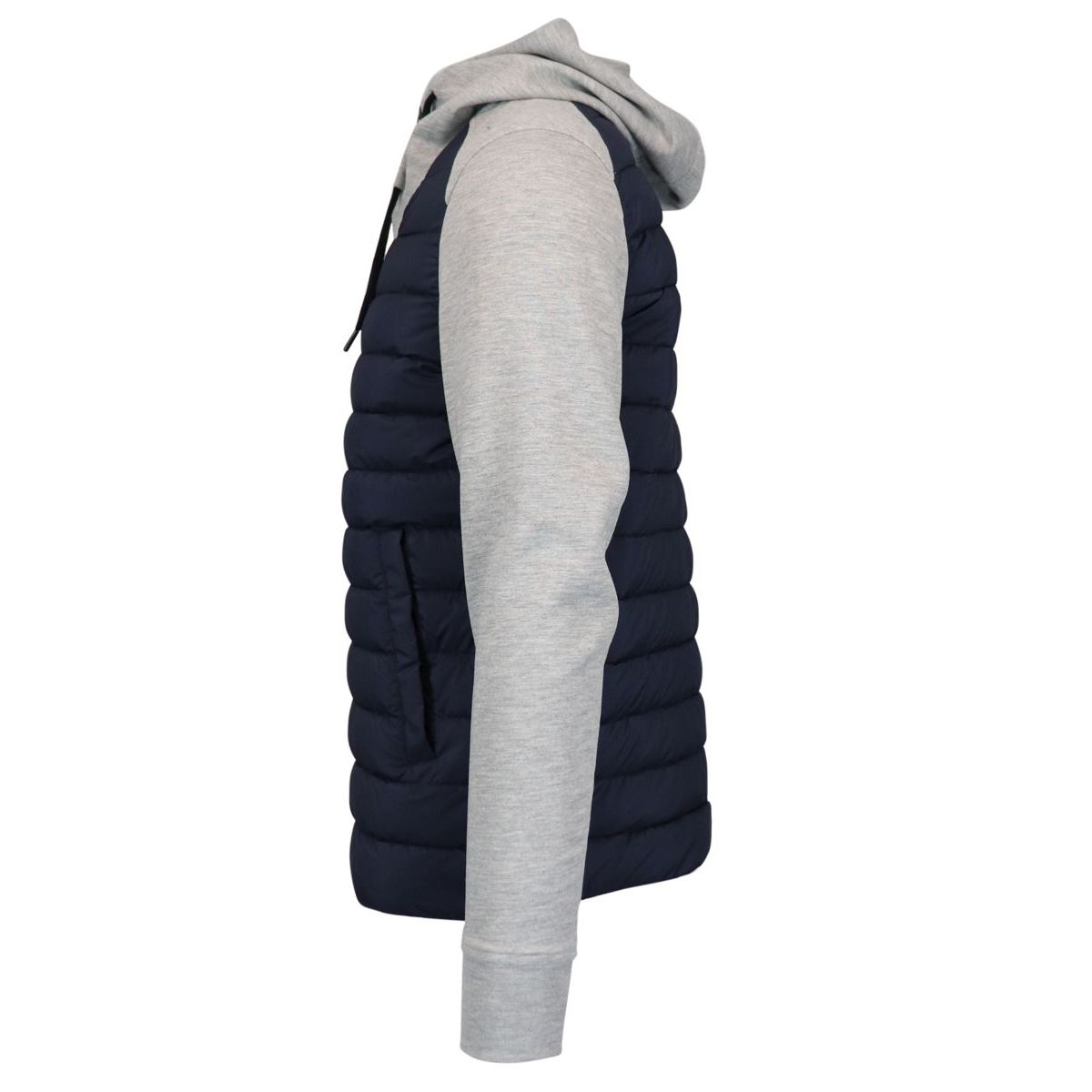 Hooded jacket in cotton and nylon with zip Gray / blue Herno