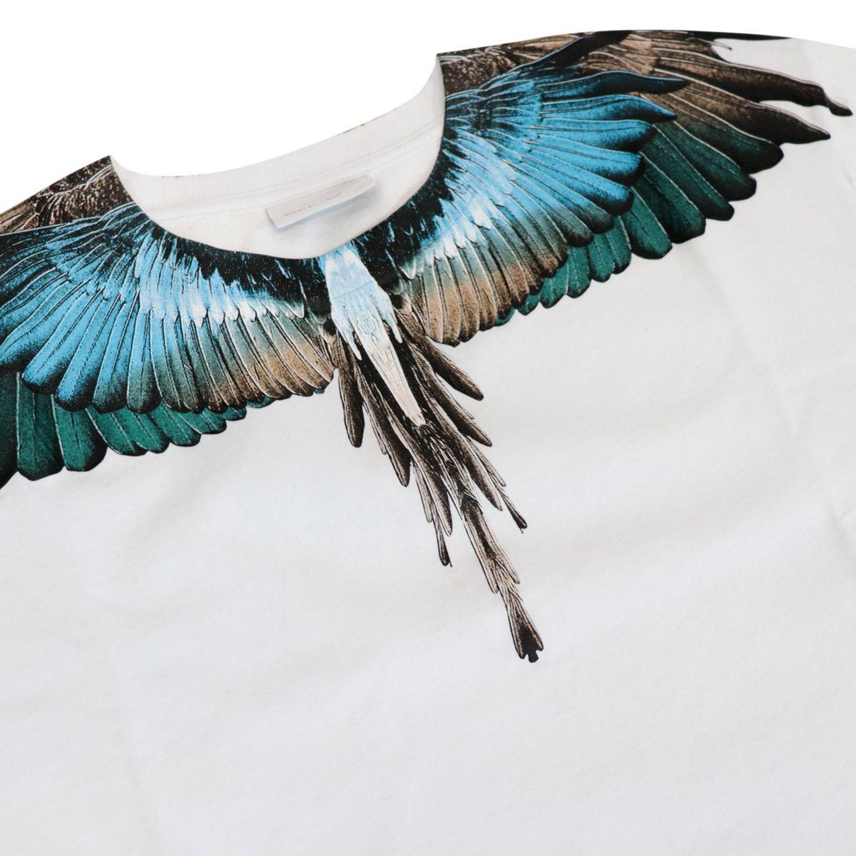 Crew neck cotton T-shirt with contrasting wings print White MARCELO BURLON