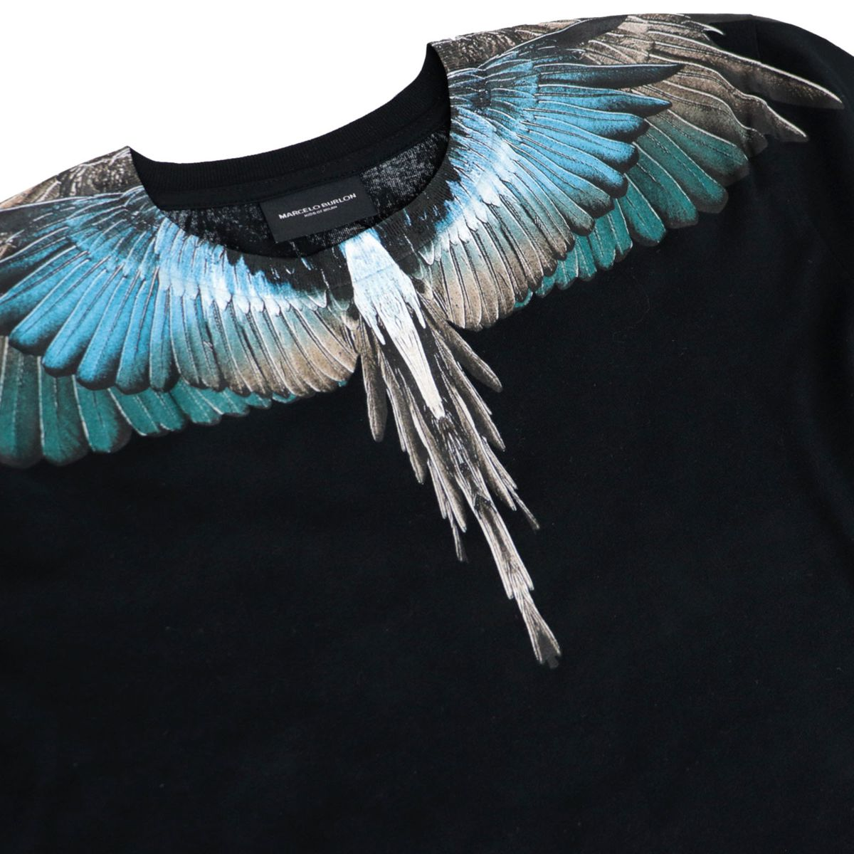 Short-sleeved cotton T-shirt with multicolor wings print Black MARCELO BURLON