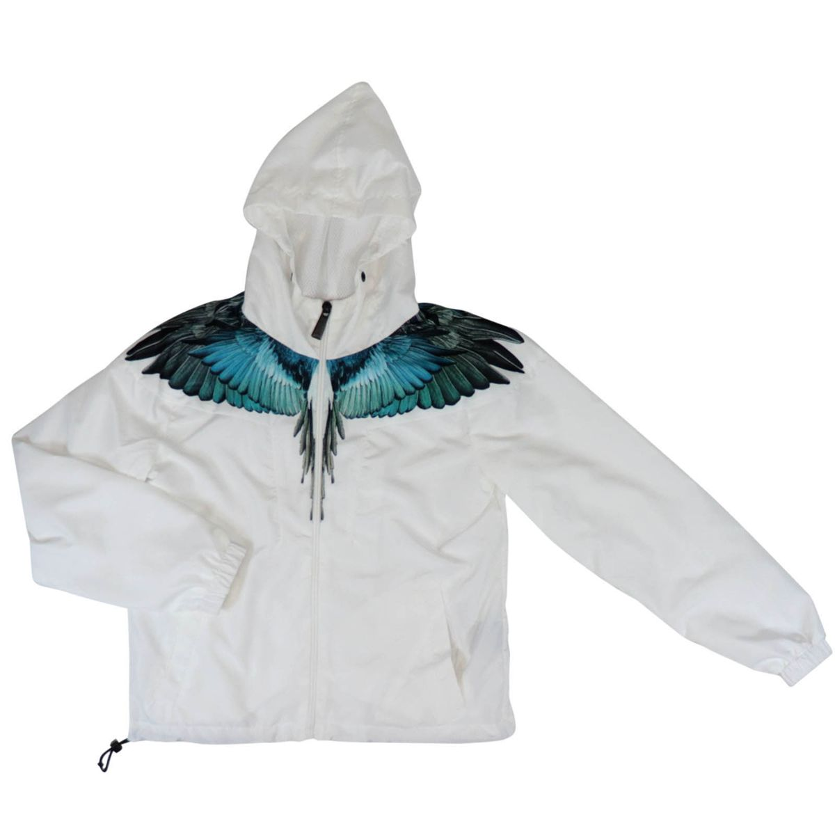 Nylon jacket with hood and wings print White MARCELO BURLON