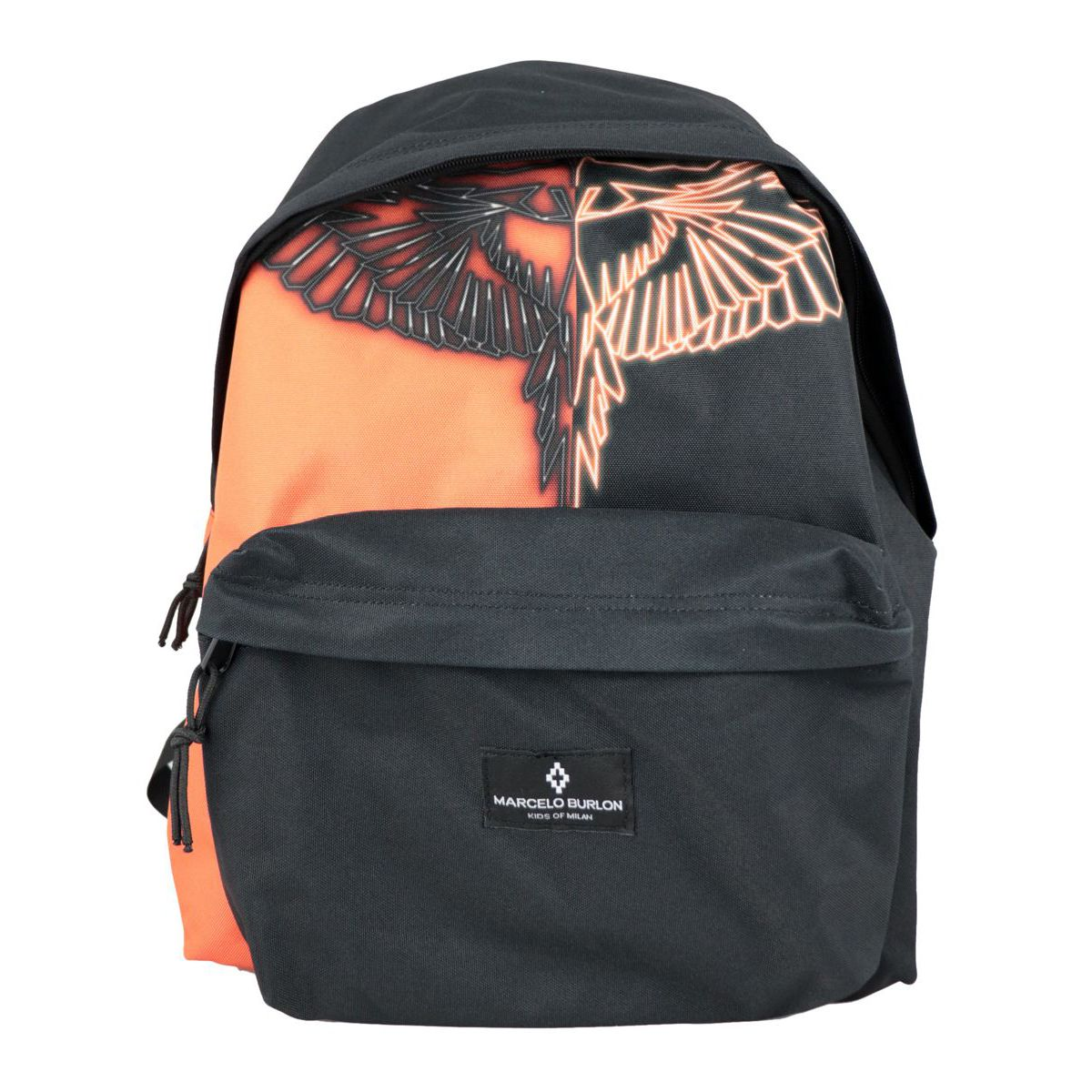 Two-tone fabric backpack with contrasting wings print Black MARCELO BURLON