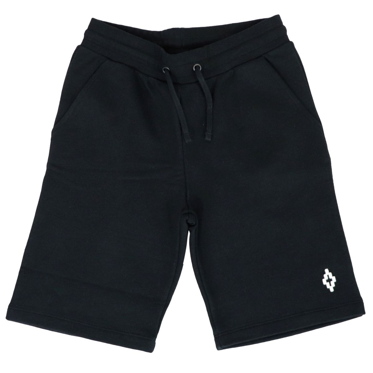 Cotton fleece shorts with contrasting logo Black MARCELO BURLON