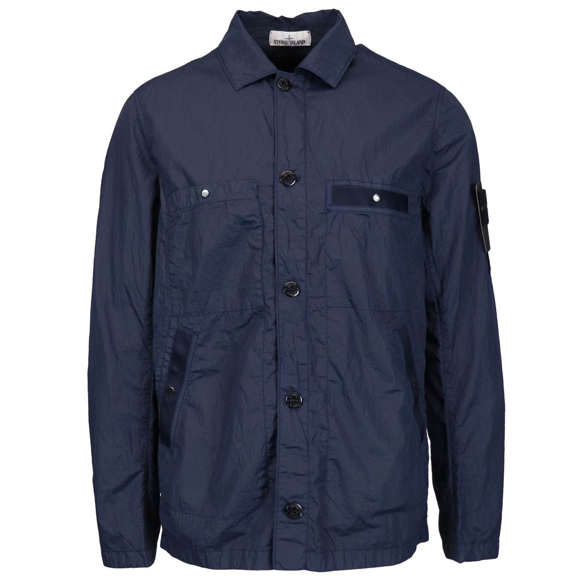 Light jacket in shiny nylon with pockets Navy Stone Island