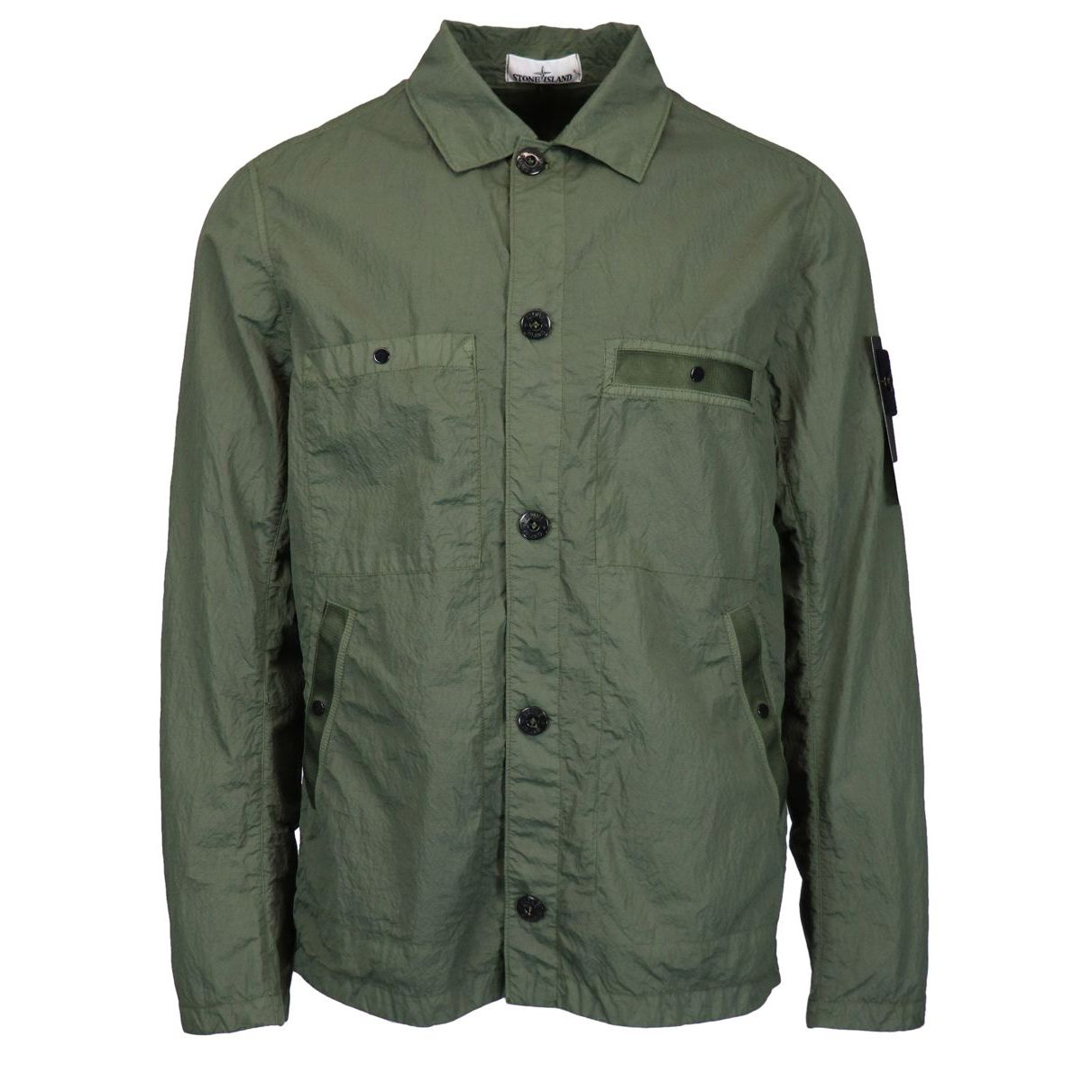 Light jacket in shiny nylon with pockets Olive Stone Island