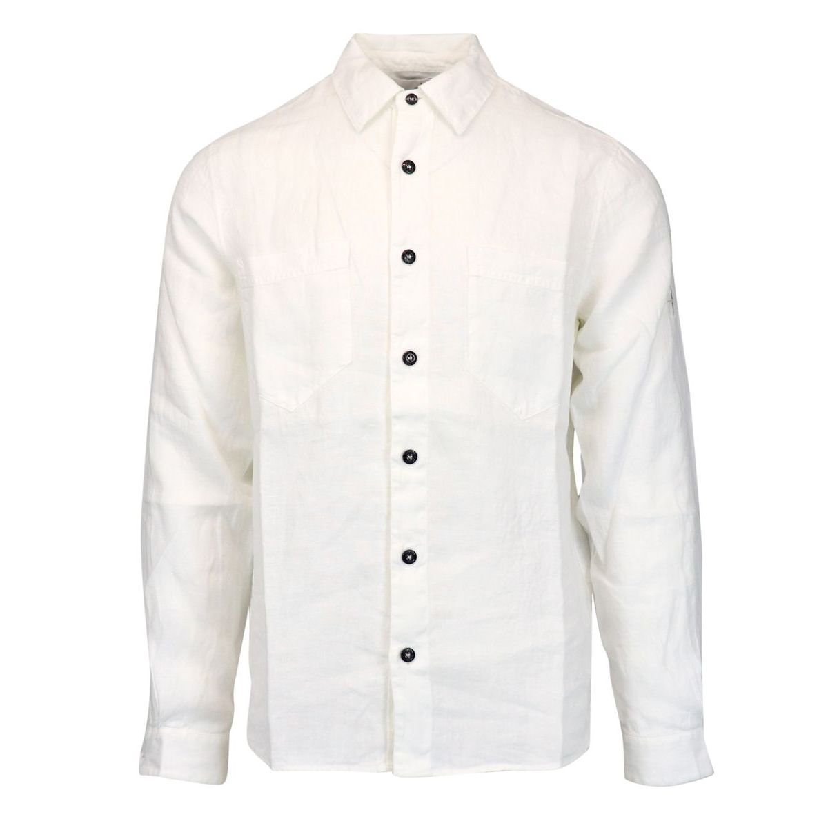 Button down linen shirt with pockets White Stone Island