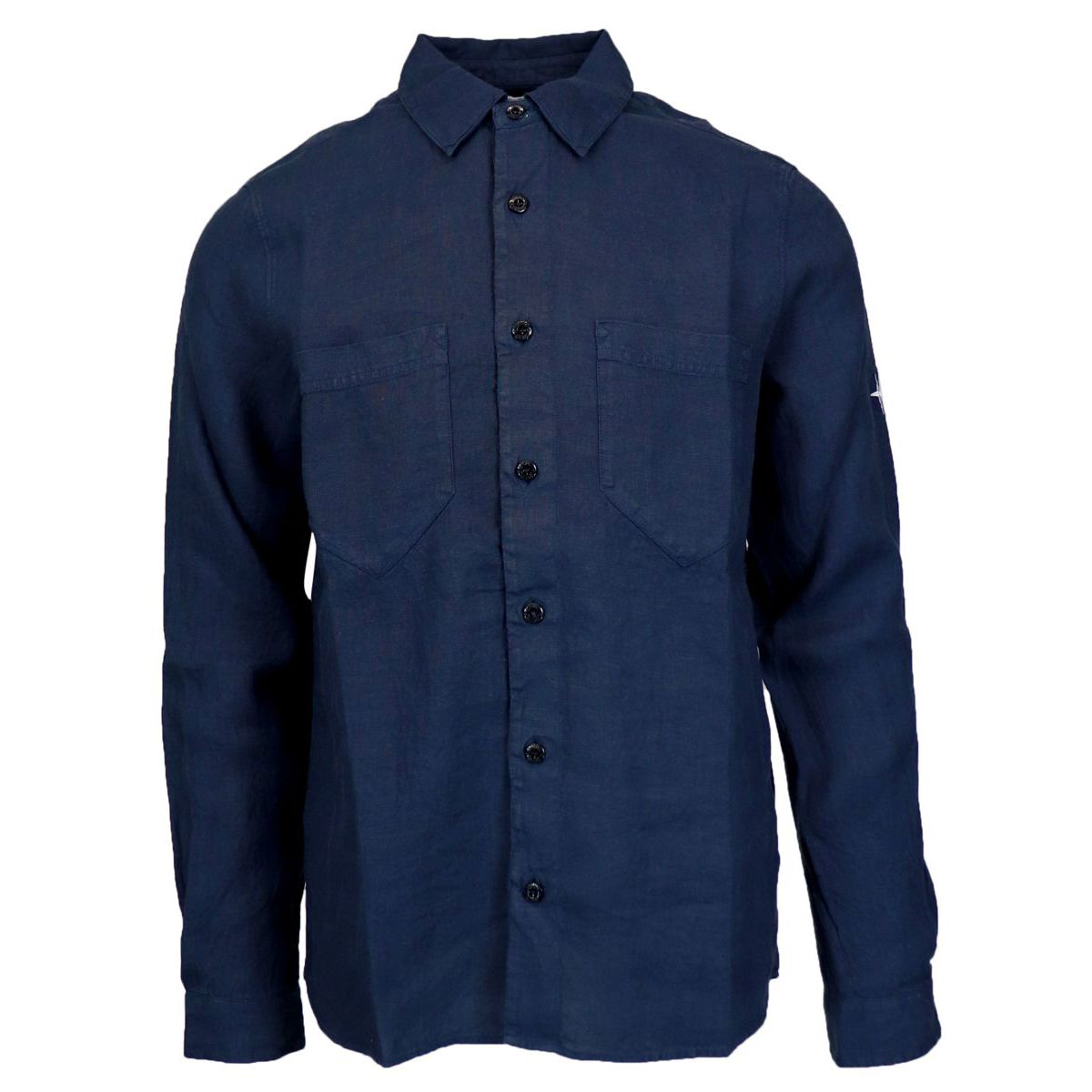 Button down linen shirt with pockets Navy Stone Island