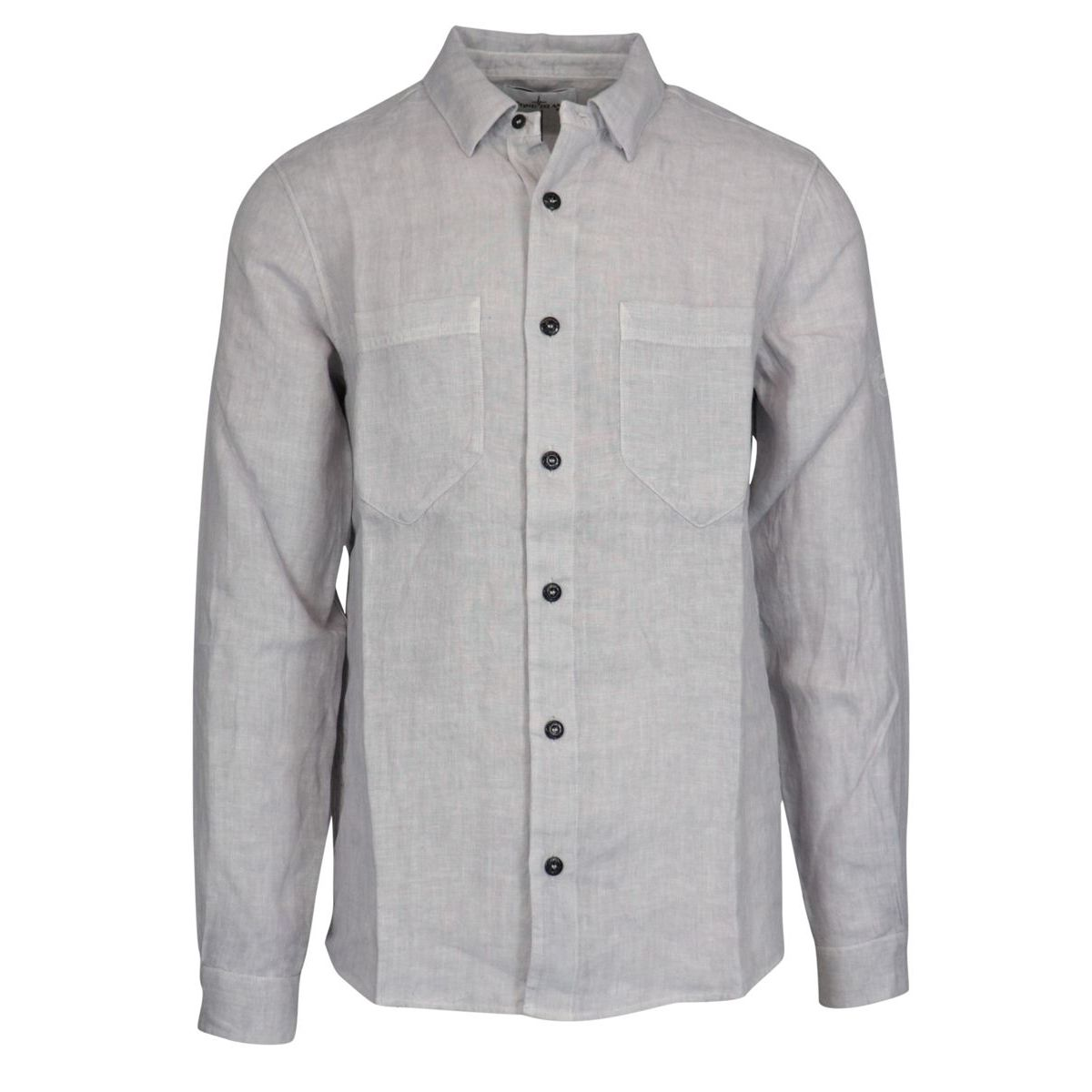 Button down linen shirt with pockets Powder Stone Island