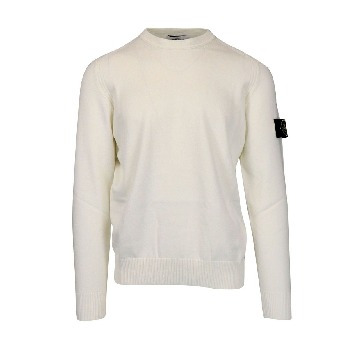 Crewneck cotton sweater with ribbed profiles Ivory Stone Island