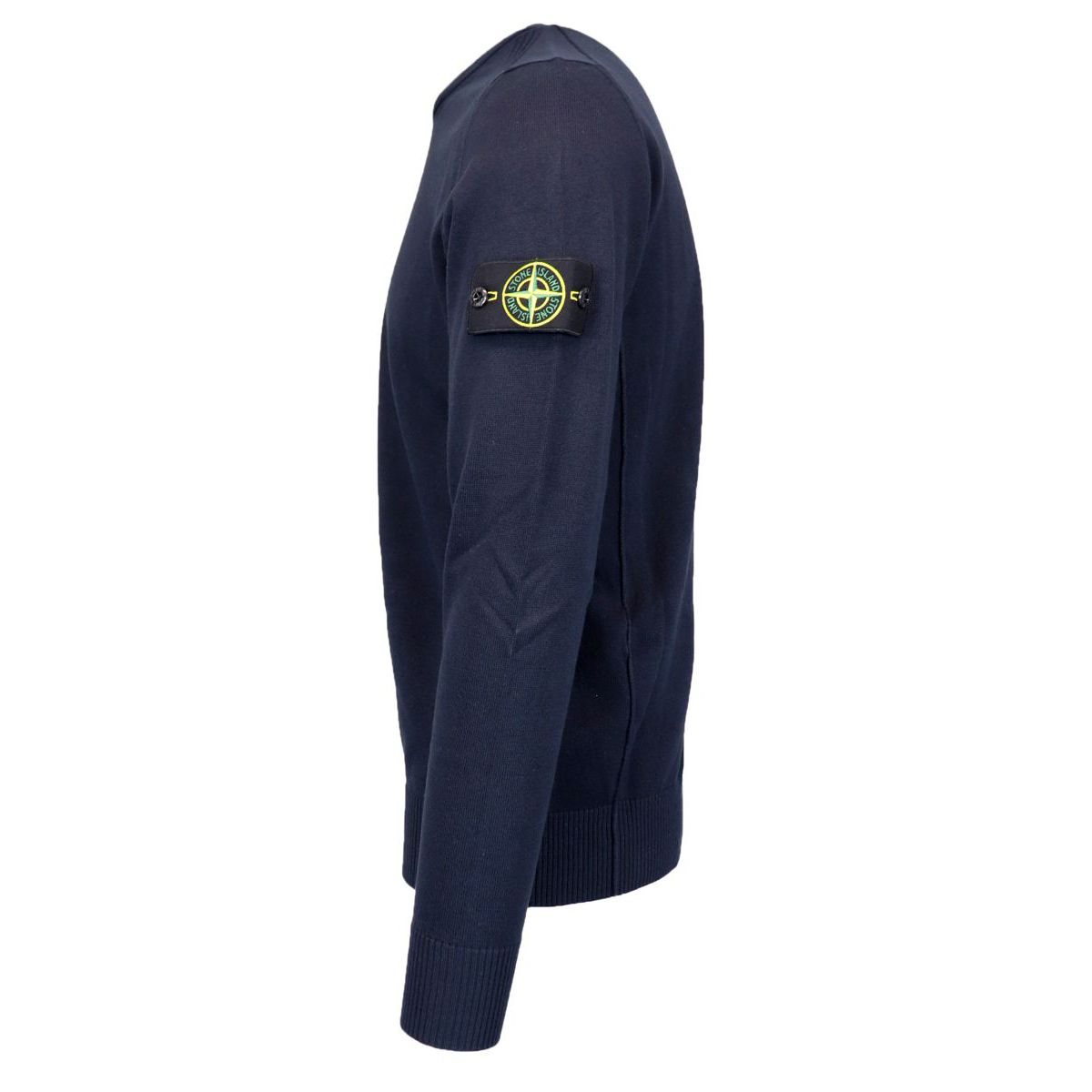Crewneck cotton sweater with ribbed profiles Navy blue Stone Island