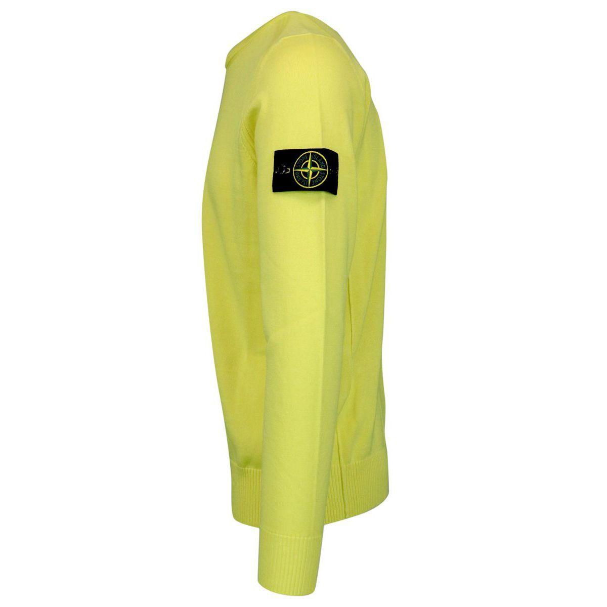 Crewneck cotton sweater with ribbed profiles Lemon Stone Island