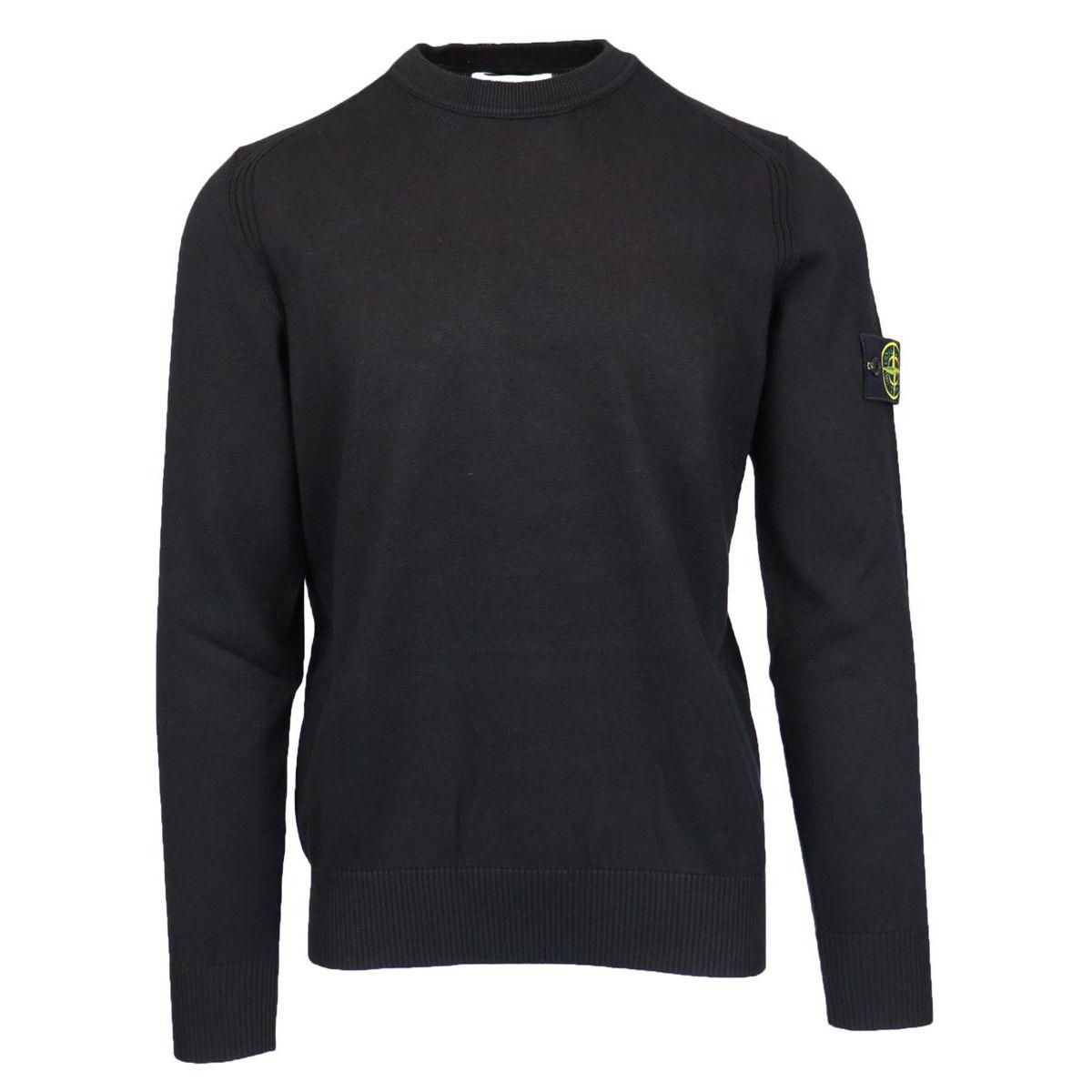 Crewneck cotton sweater with ribbed profiles Black Stone Island
