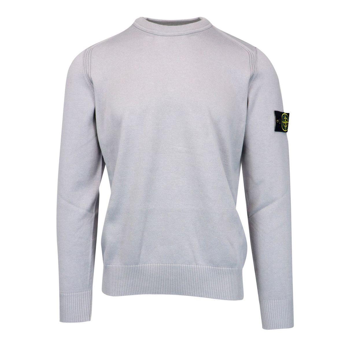 Crewneck cotton sweater with ribbed profiles Powder Stone Island