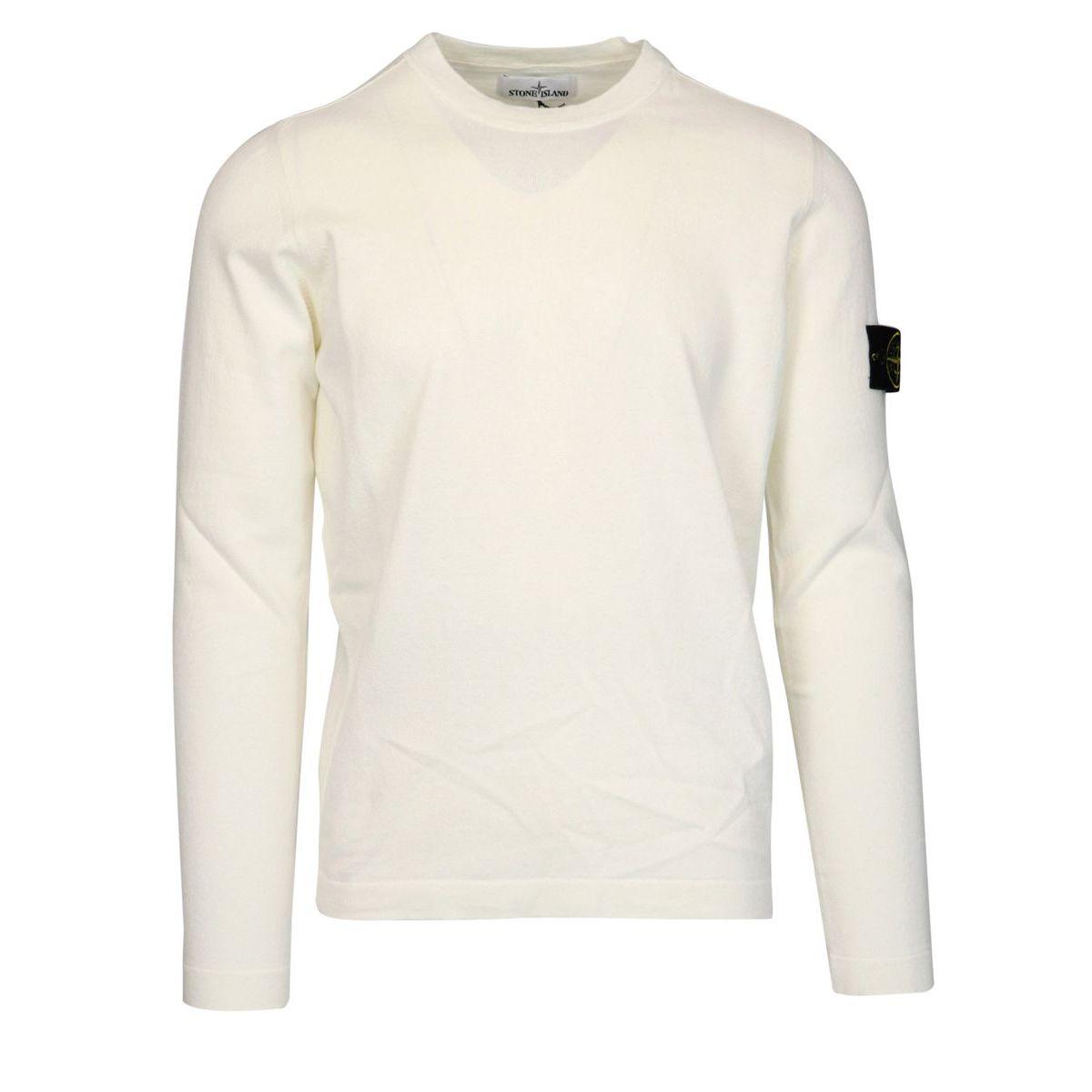 Crew neck cotton sweater with logo patch Ivory Stone Island