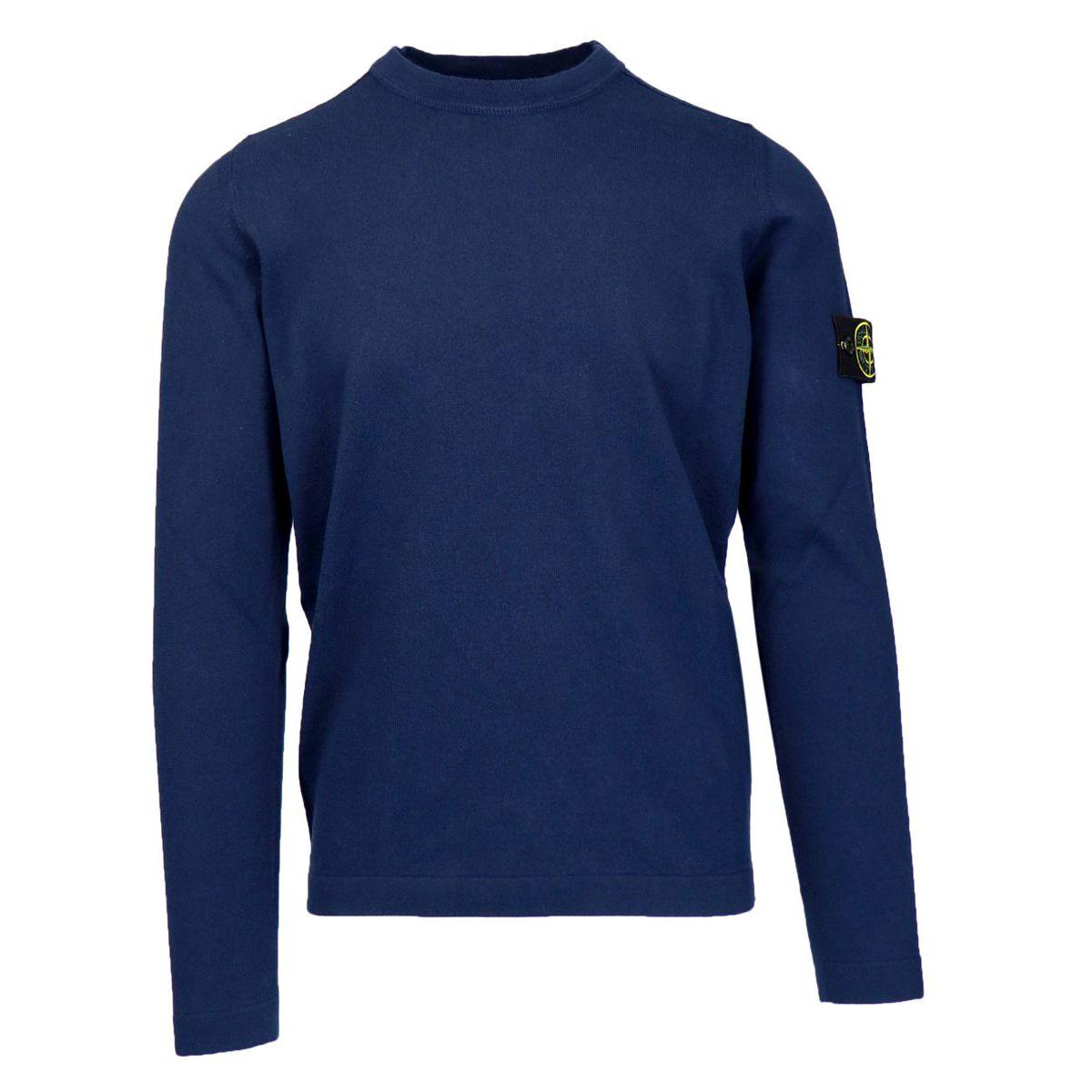 Crew neck cotton sweater with logo patch Marine blue Stone Island