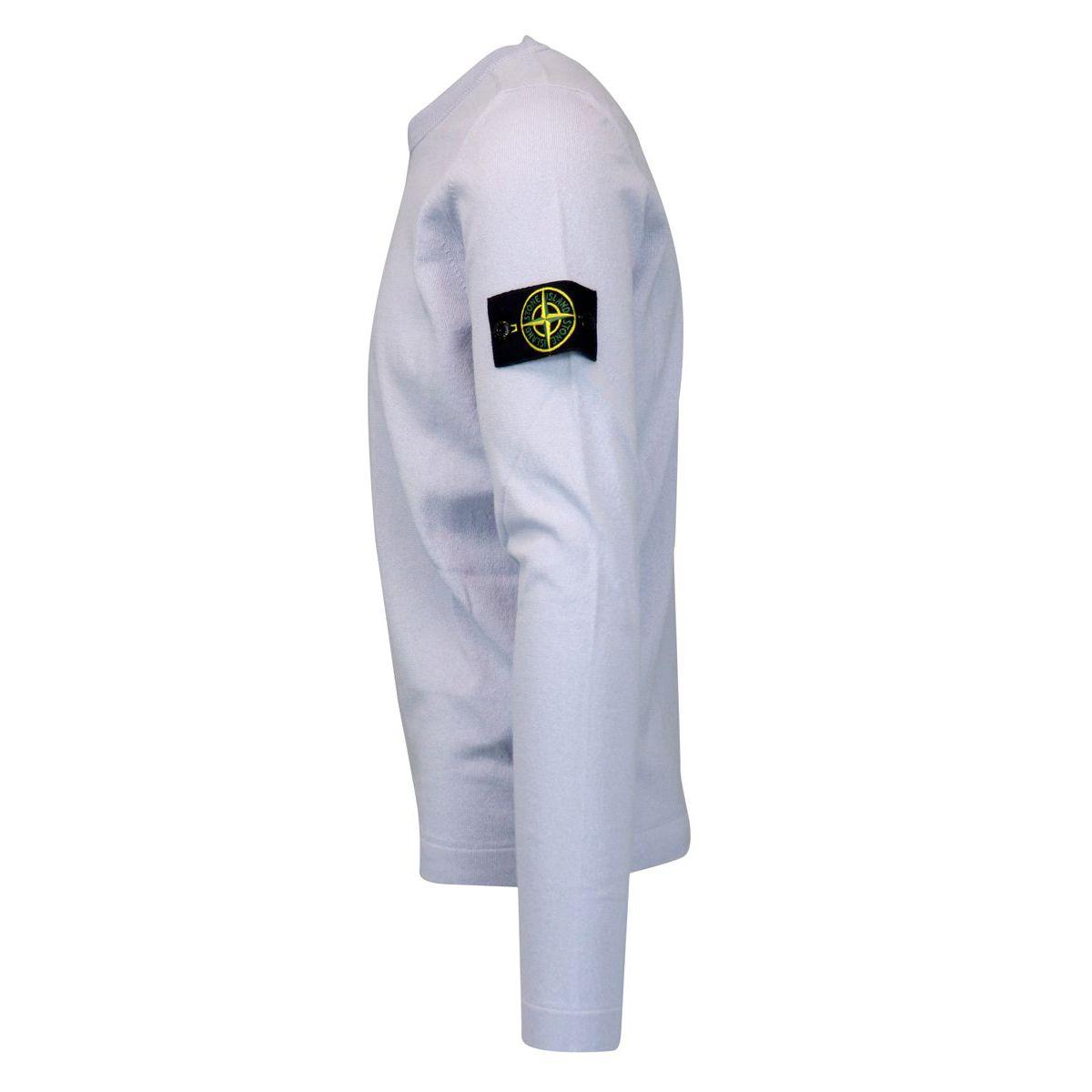 Crew neck cotton sweater with logo patch Sky Stone Island
