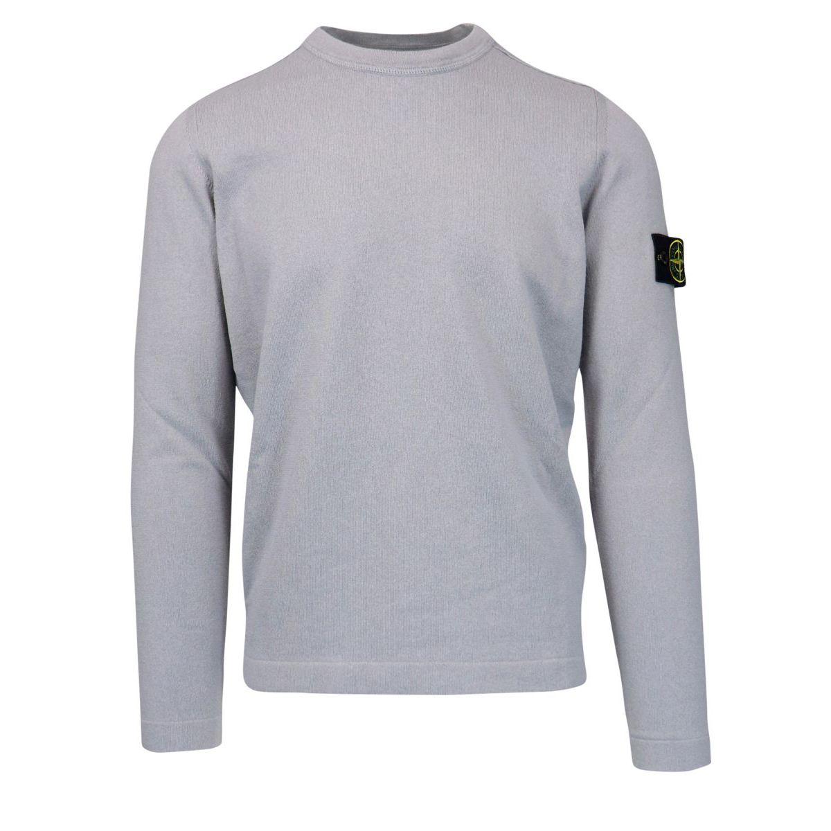 Crew neck cotton sweater with logo patch Powder Stone Island