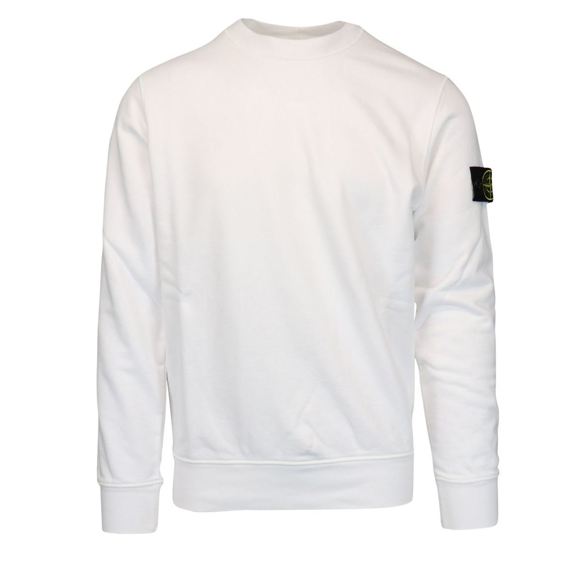 Crewneck cotton sweatshirt with ribbed profiles White Stone Island
