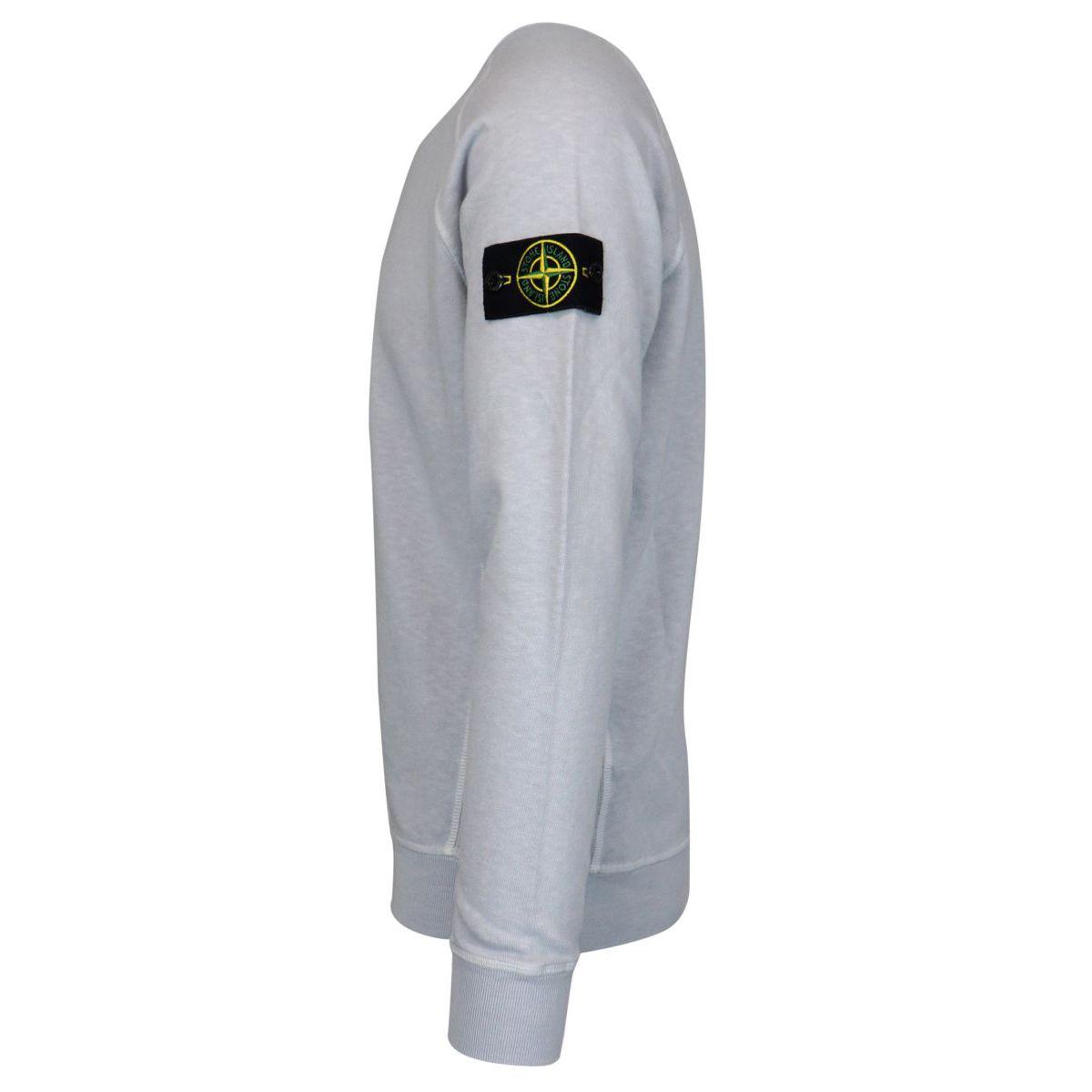 """Washed effect"" crewneck sweatshirt with logo patch Sky Stone Island"