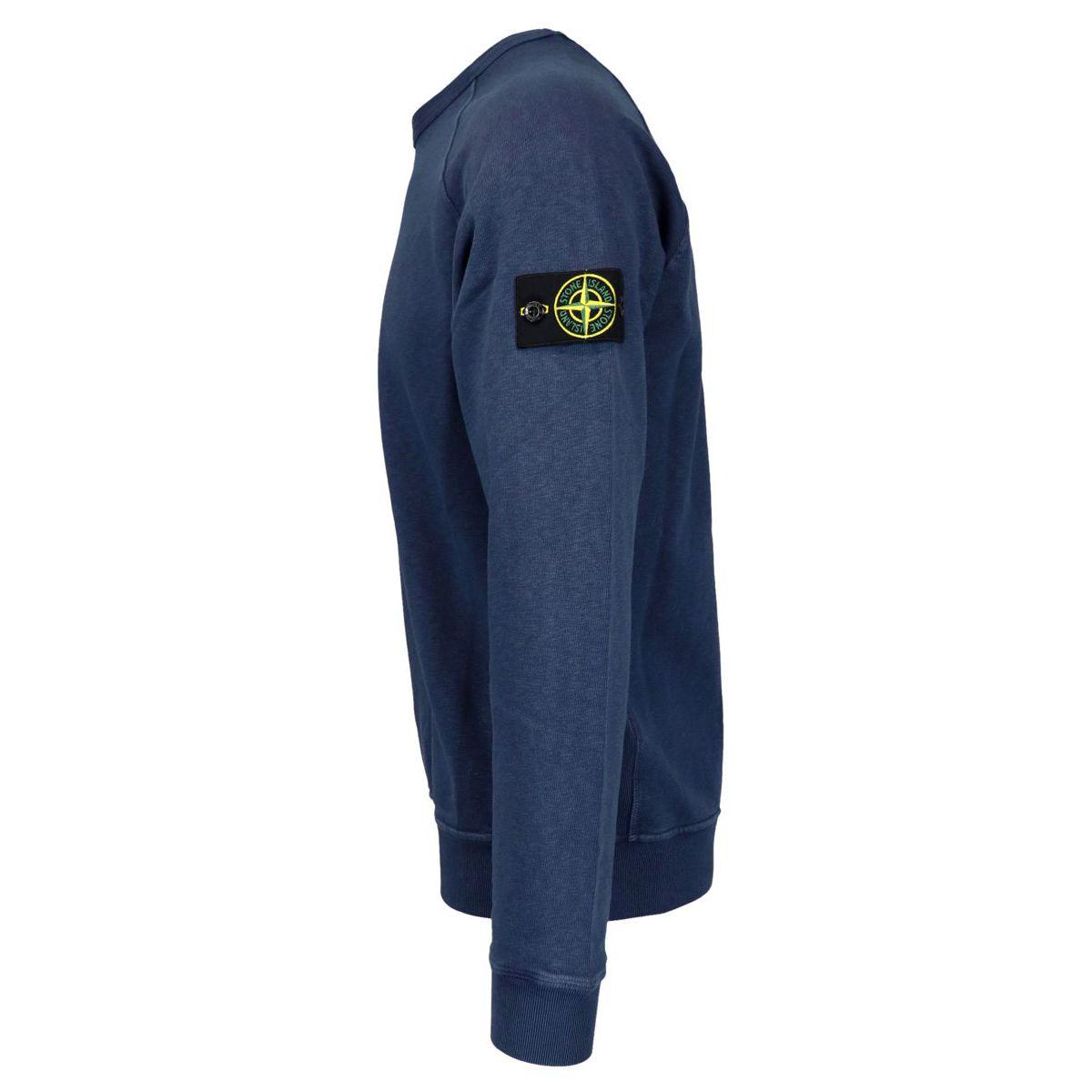 """Washed effect"" crewneck sweatshirt with logo patch Navy Stone Island"