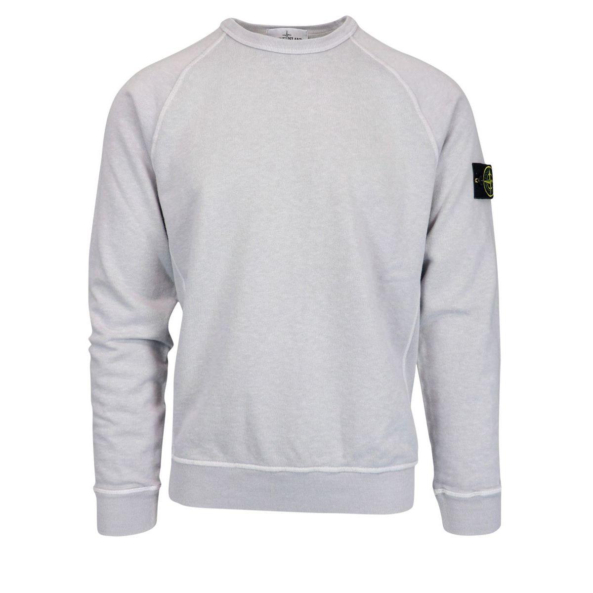 """Washed effect"" crewneck sweatshirt with logo patch Powder Stone Island"