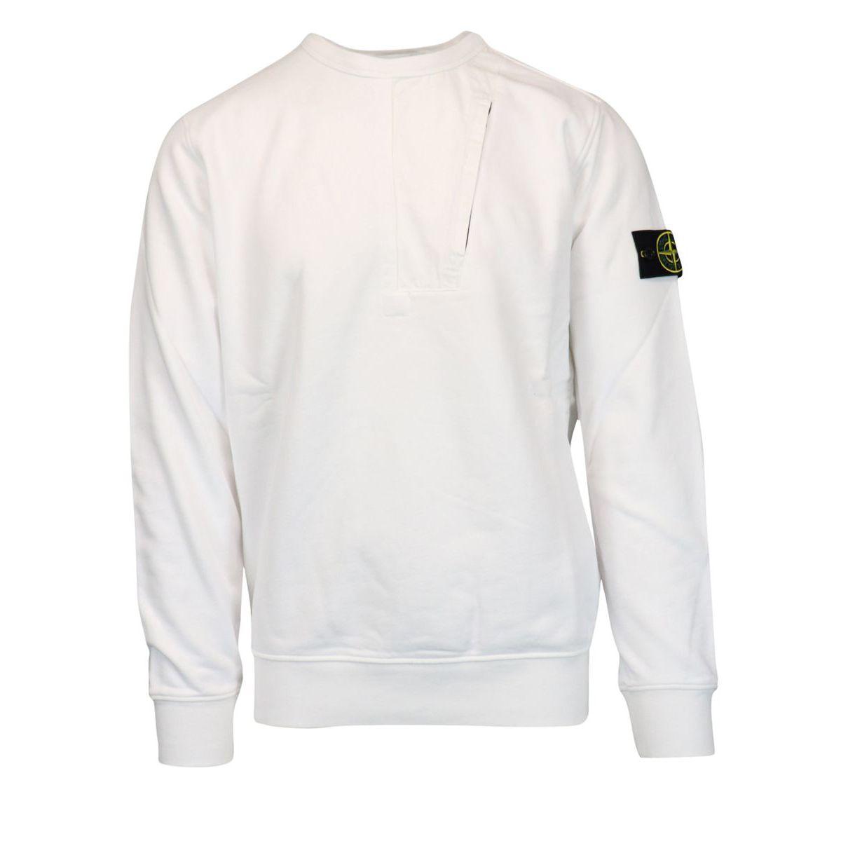 Crewneck sweatshirt with zip pocket on the chest White Stone Island