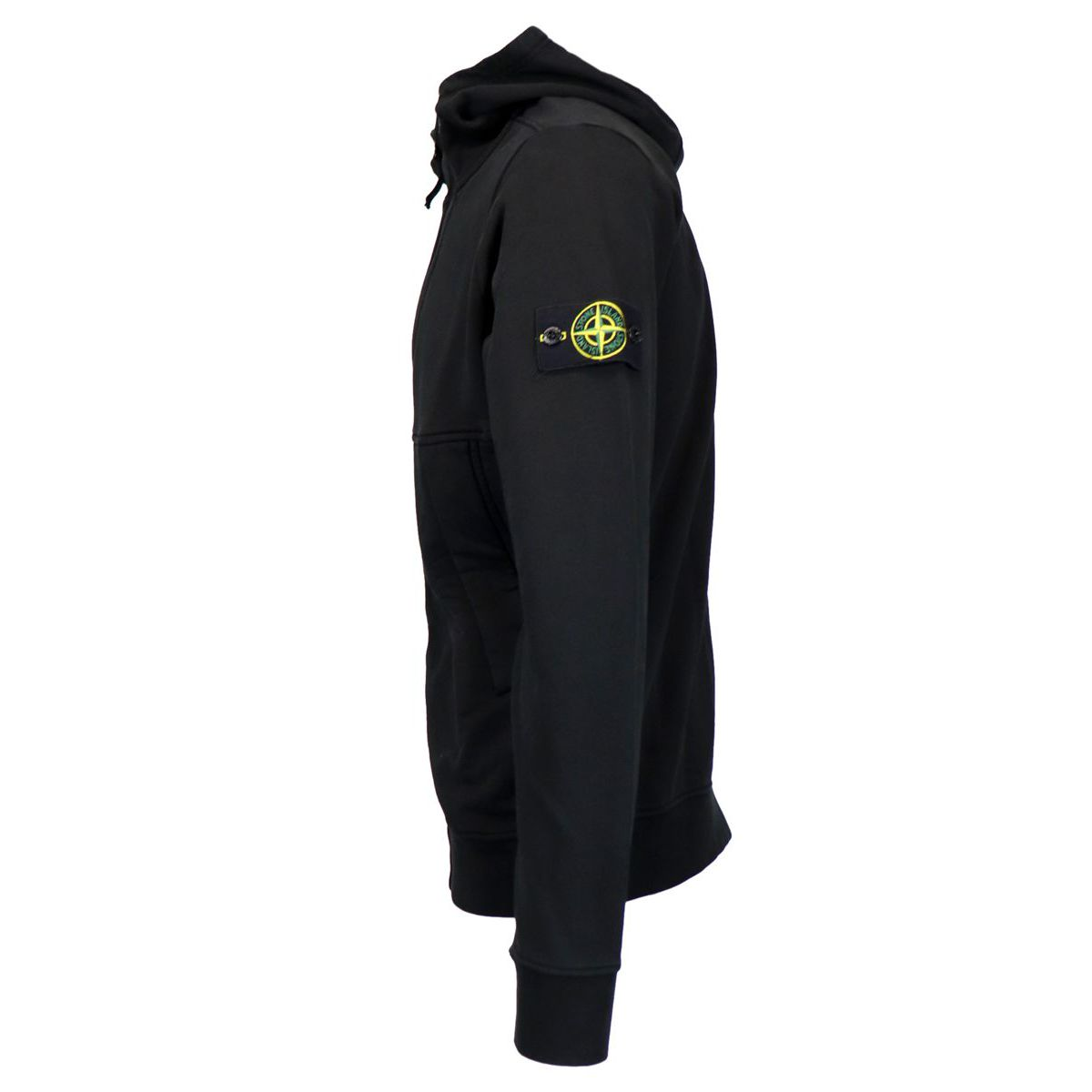 Full zip cotton sweatshirt with hood Black Stone Island