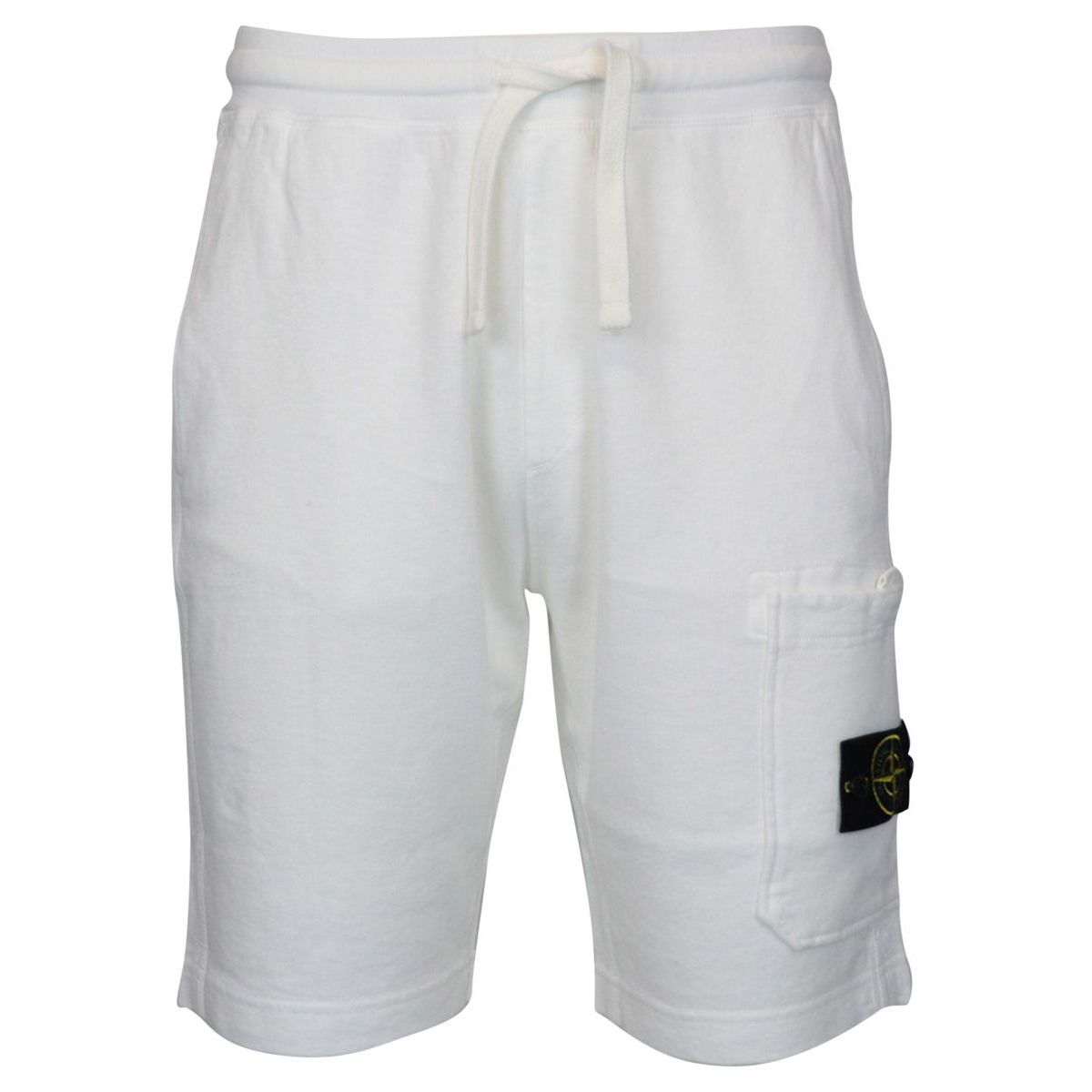 Regular-fit bermuda shorts in aged effect cotton fleece White Stone Island