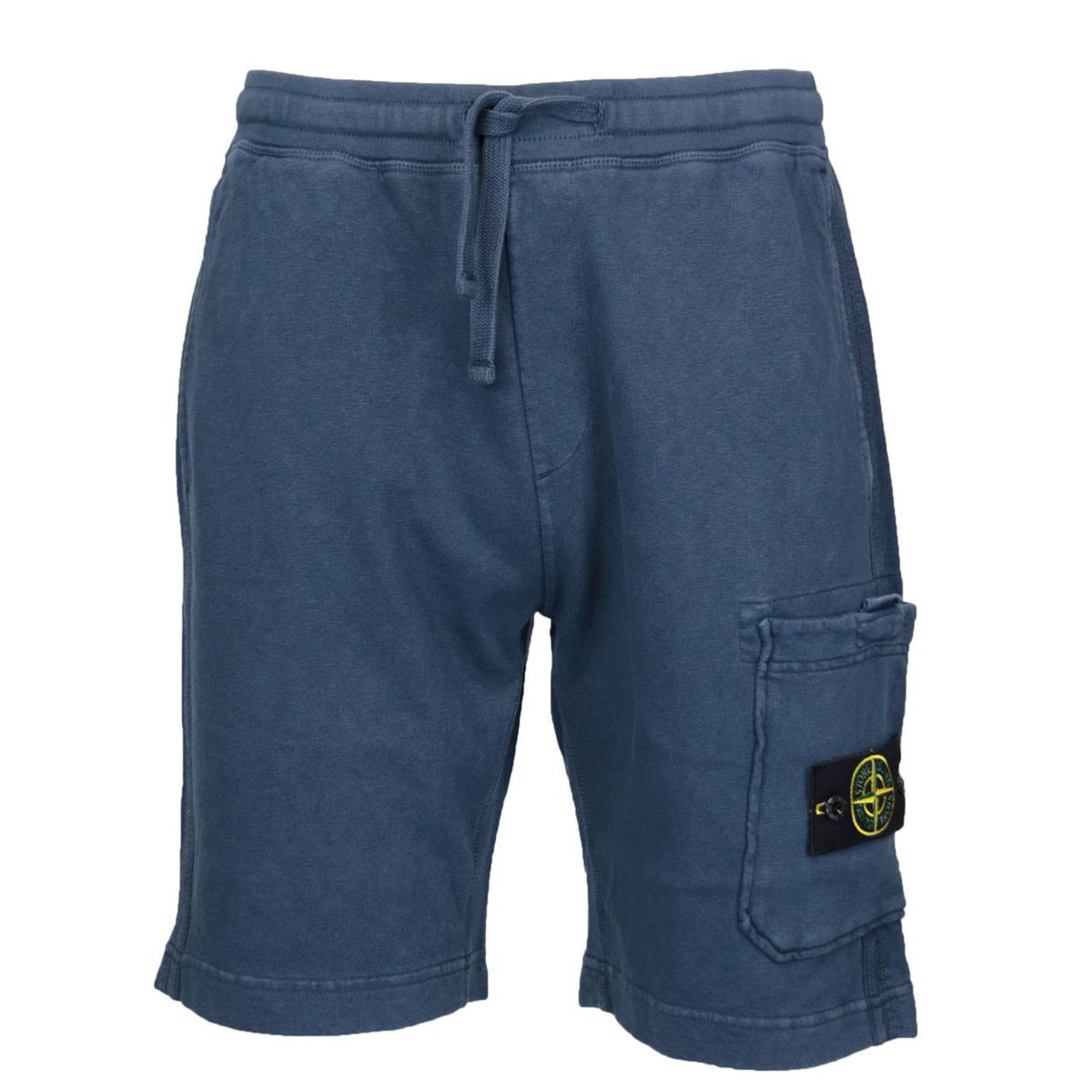 Regular-fit bermuda shorts in aged effect cotton fleece Navy Stone Island